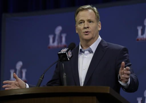 NFL Commissioner Roger Goodell answers questions during a news conference during preparations for the NFL Super Bowl 51 football game Wednesday, Feb. 1, 2017, in Houston.