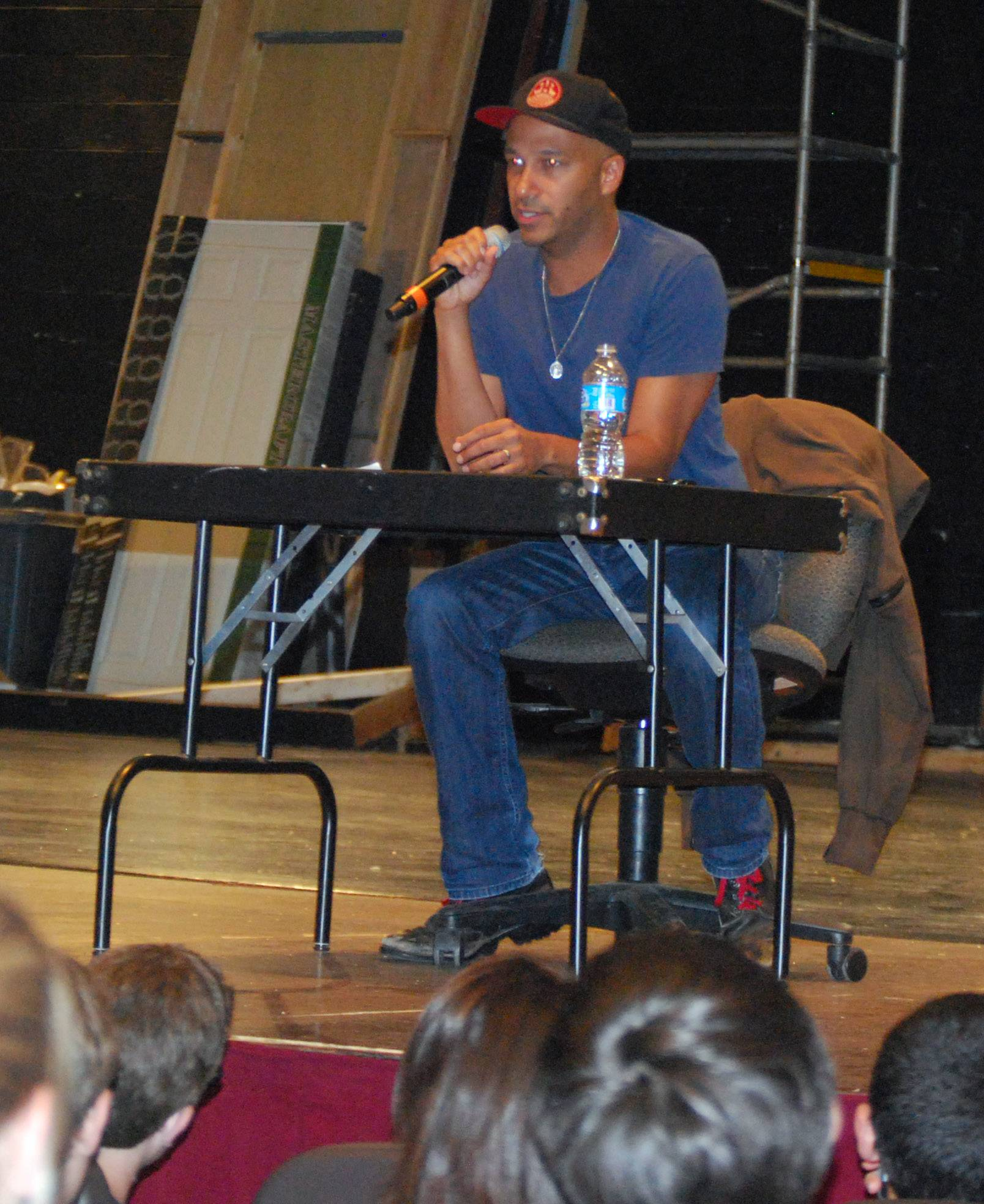 Libertyville High School alumni Tom Morello spoke to students during homecoming in 2012.