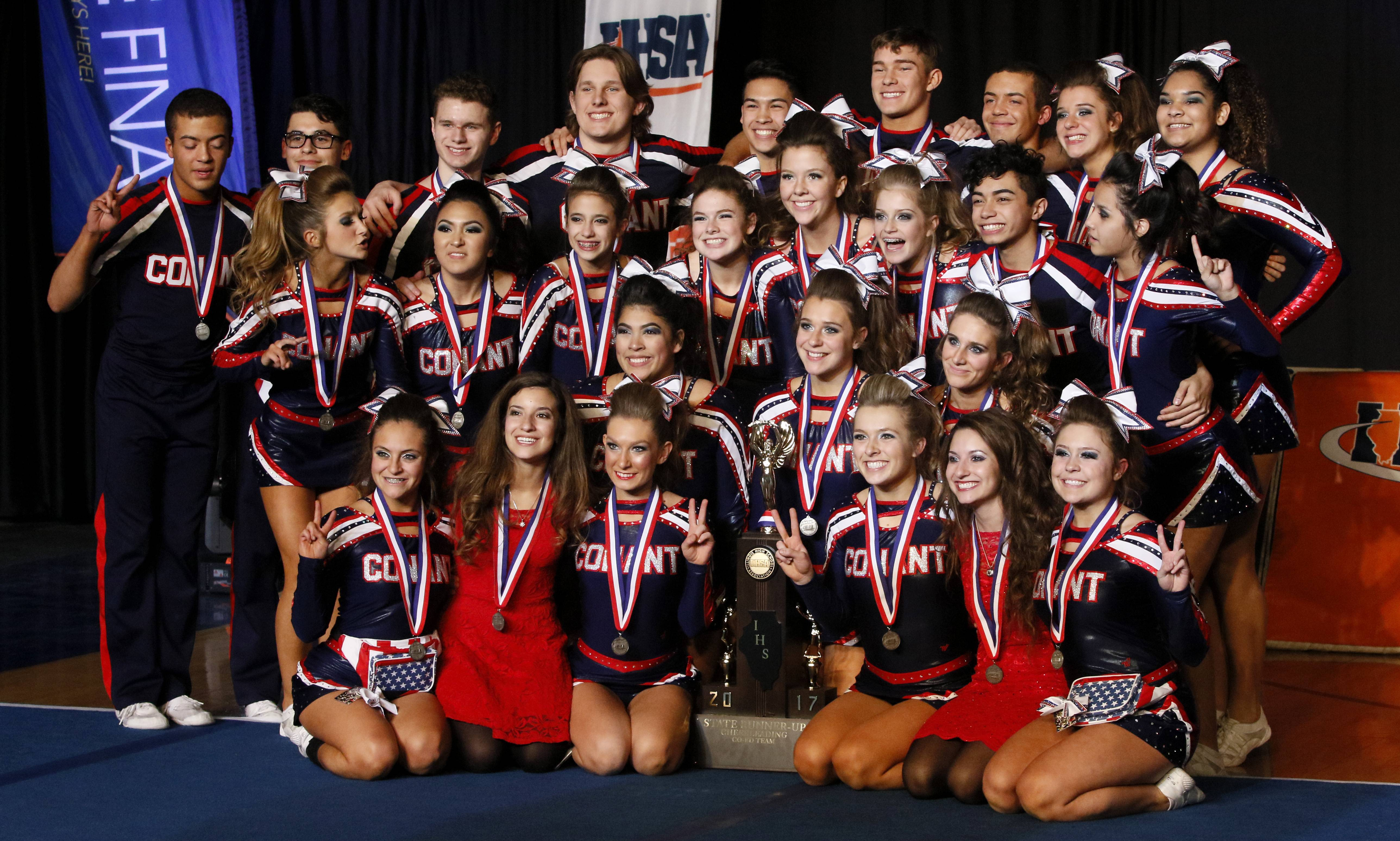 Conant cheerleaders took home a second-place trophy Saturday at the state championships.