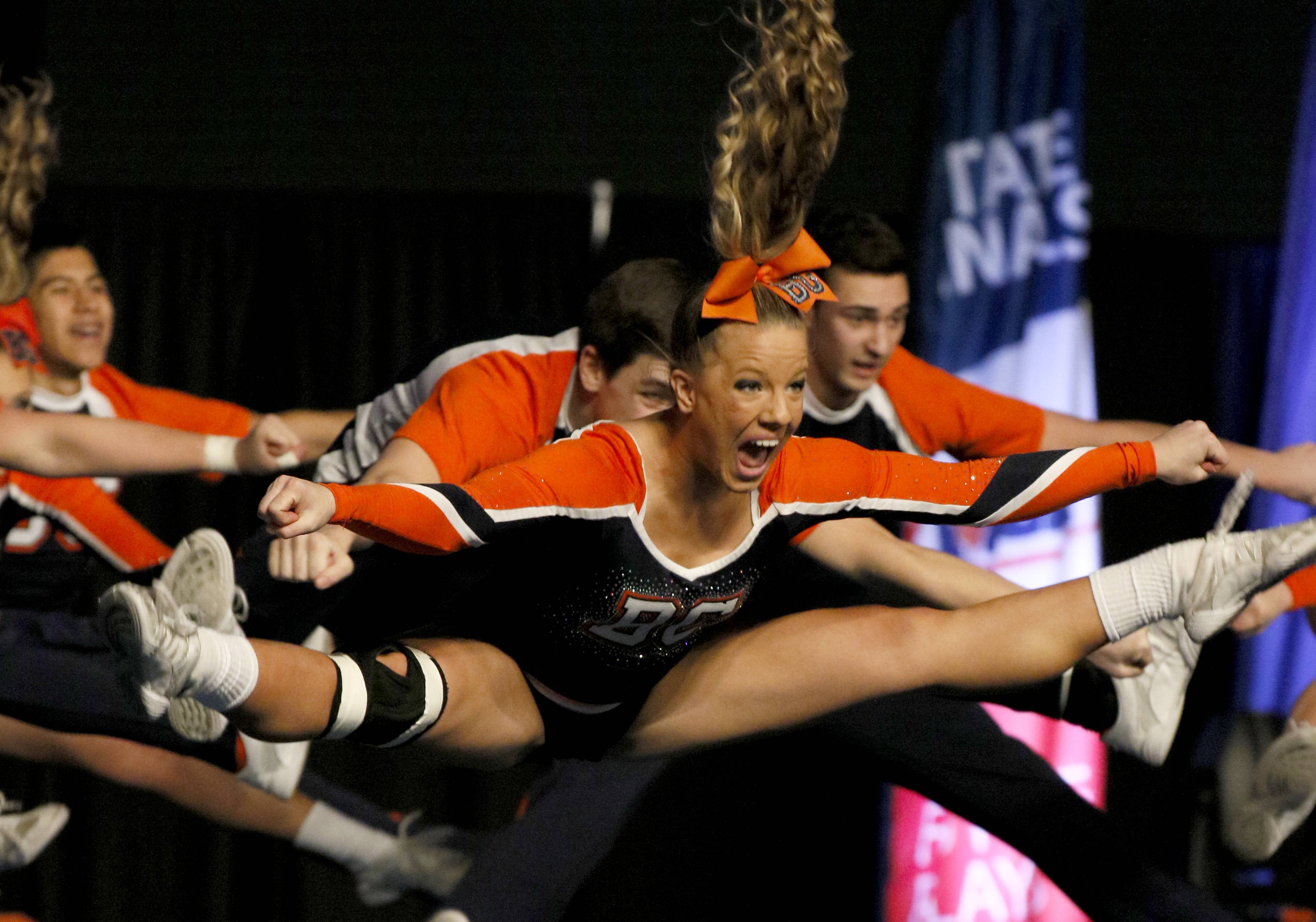 Buffalo Grove High School's coed team competes Saturday at the U.S. Cellular Coliseum in Bloomington. The squad won third place during the state competition.
