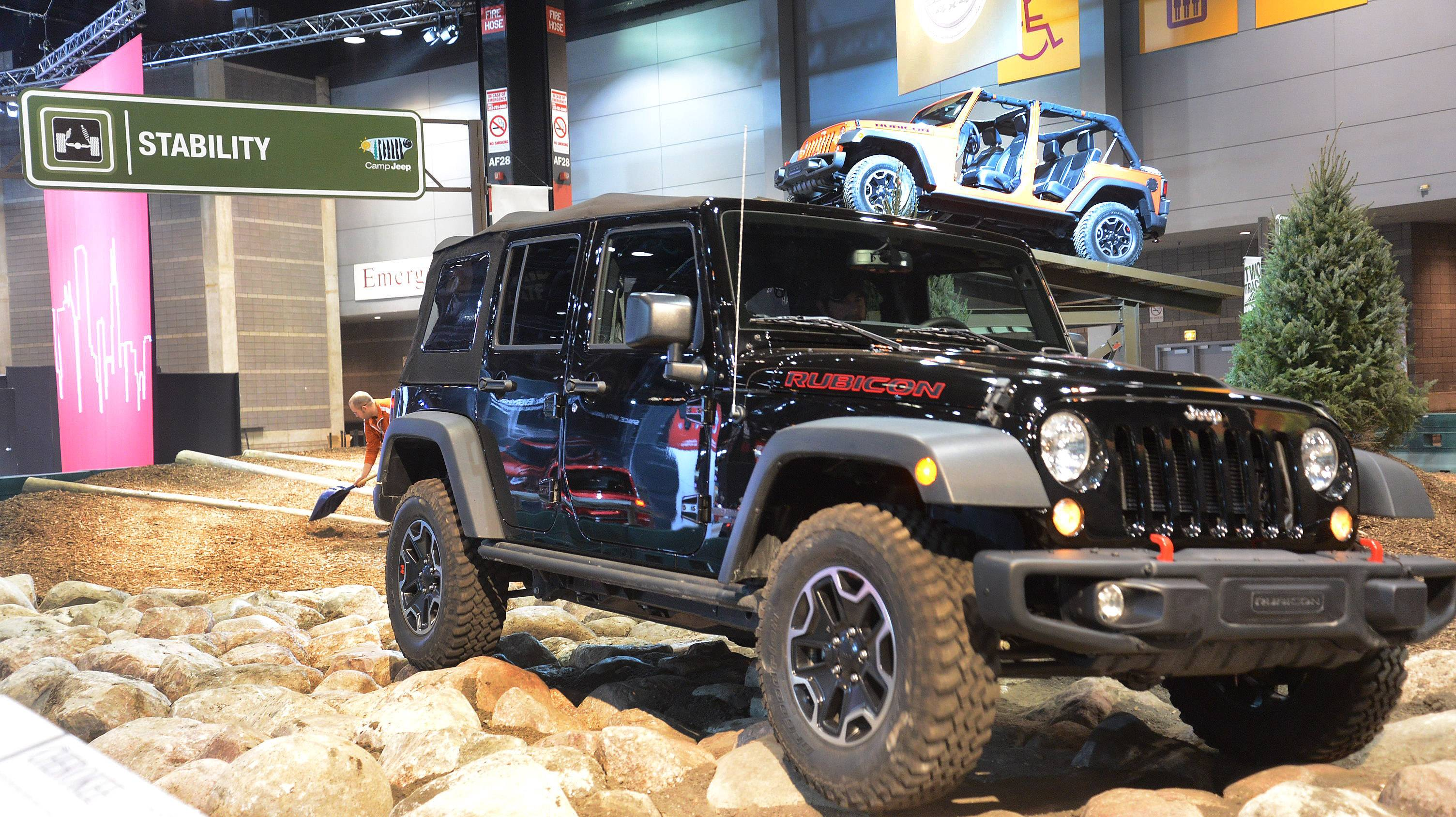 Drivers can get some safe thrills on five indoor test tracks, including one sponsored by Jeep, at the 2017 Chicago Auto Show.
