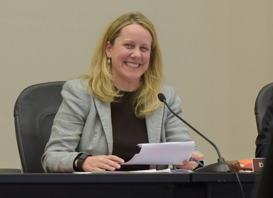 College of DuPage Board Chairwoman Deanne Mazzochi smiled after the board voted in May to hire school President Ann Rondeau. Mazzochi refused to let a board boycott delay the search for a new president.