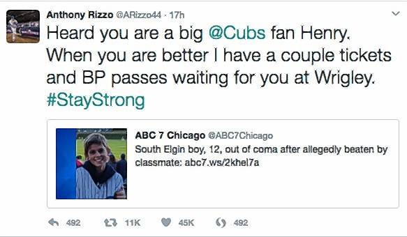 Cubs' Rizzo reaches out to South Elgin boy attacked by classmate