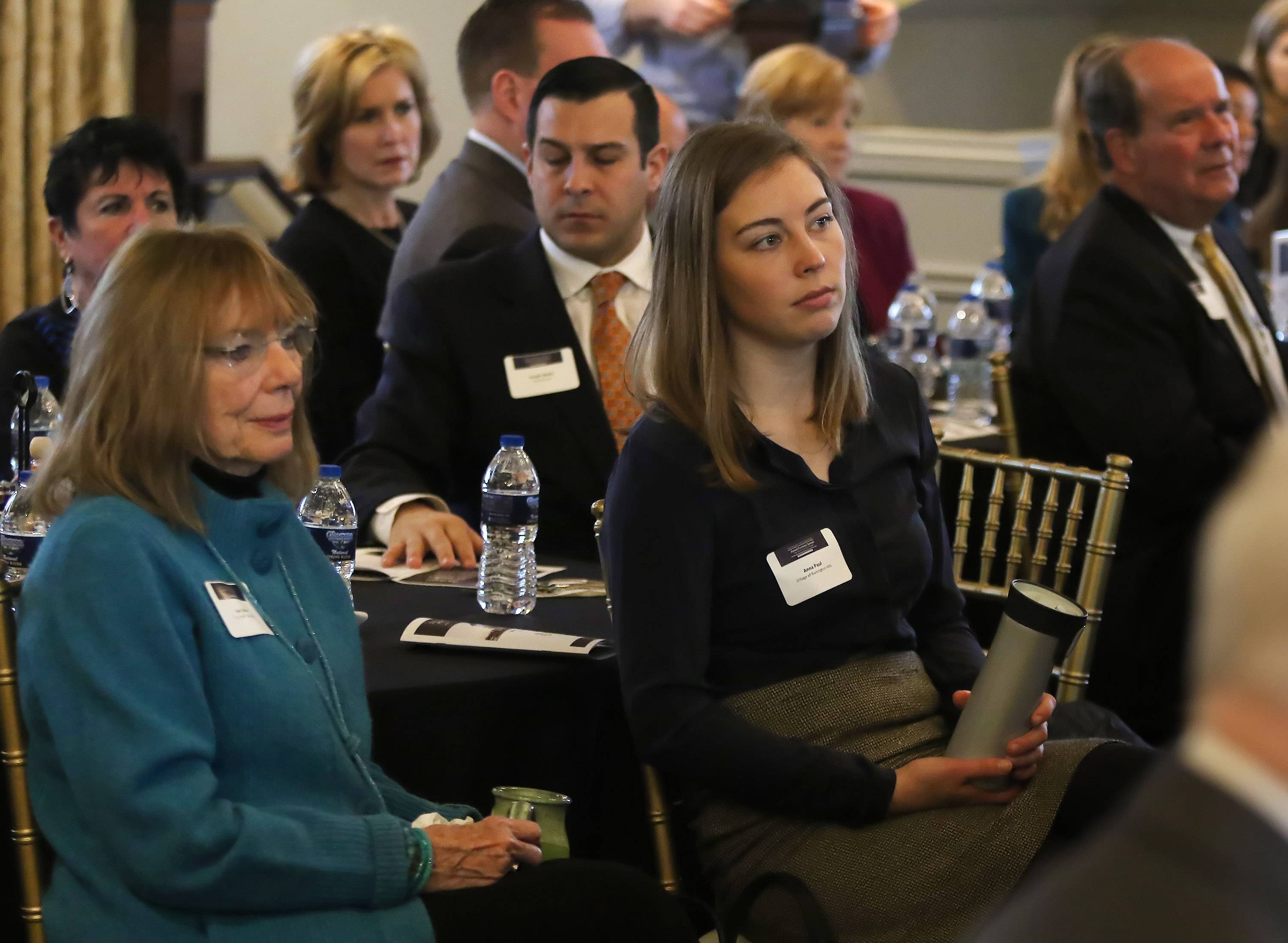 "Business leaders listen to speakers during the 2017 Annual Economic Summit by the Barrington Area Chamber of Commerce at Barrington's White House on Wednesday. The ""State of the Barrington Region"" breakfast featured representatives from nine area villages."