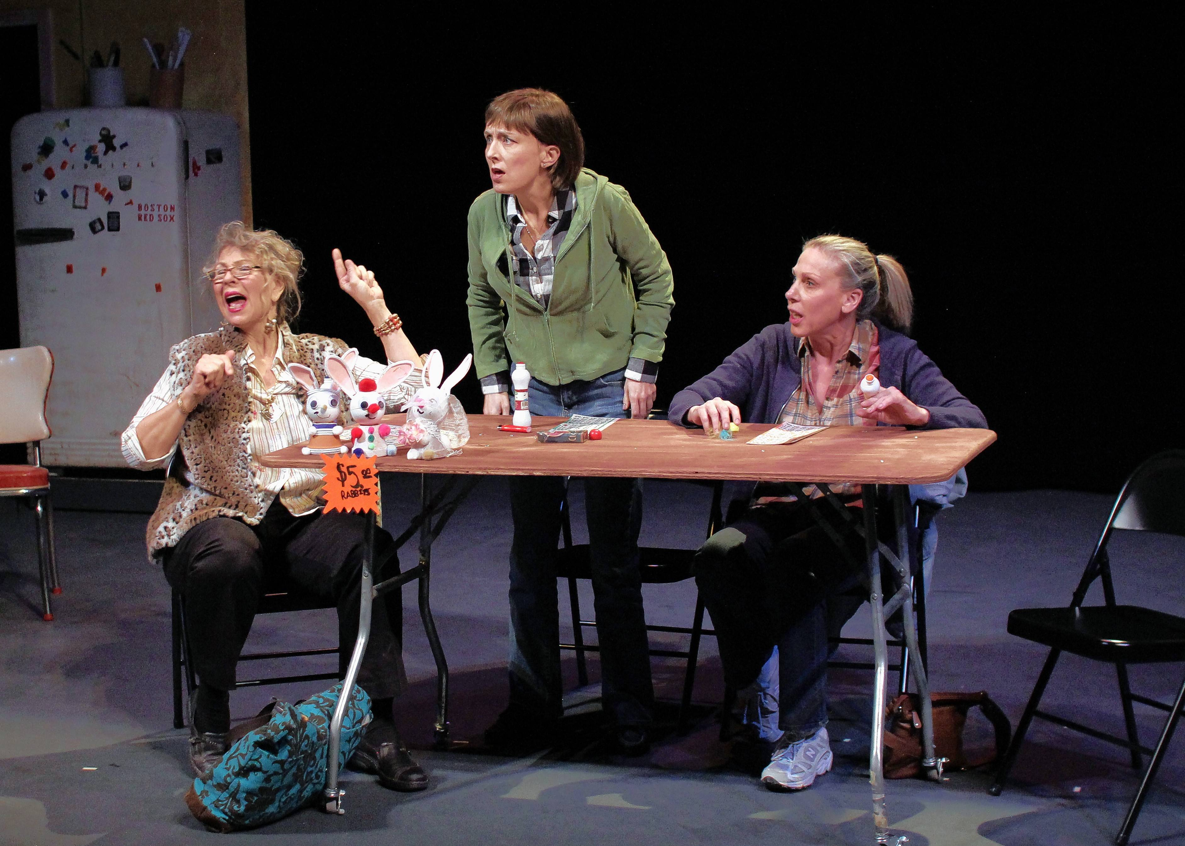 "Bingo isn't profitable for Margie (Amelia Barrett), right, and her friends Jean (Kelli Walker), center, and Dottie (Annie Slivinski) in Buffalo Theatre Ensemble's revival of ""Good People."""