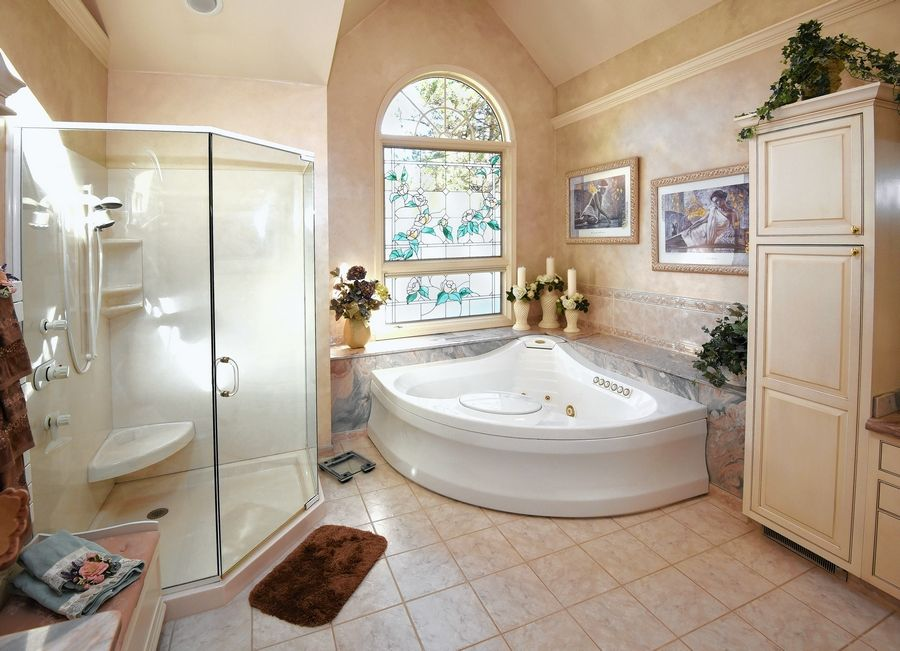 A spalike master bathroom will pamper the next owner.
