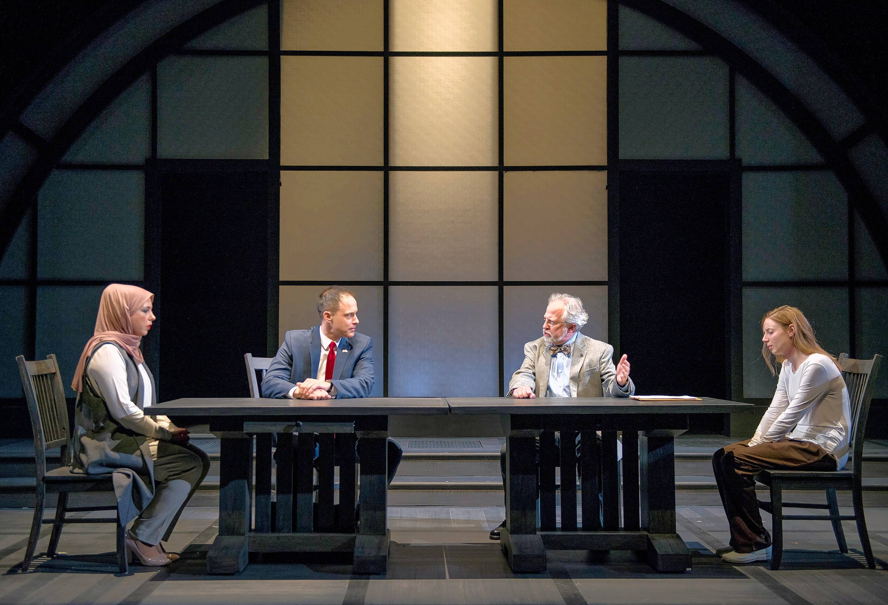 "Susaan Jamshidi, left, Timothy Edward Kane, Ross Lehman and Lindsay Stock star in ""Faceless,"" a new courtroom drama at Northlight Theatre."