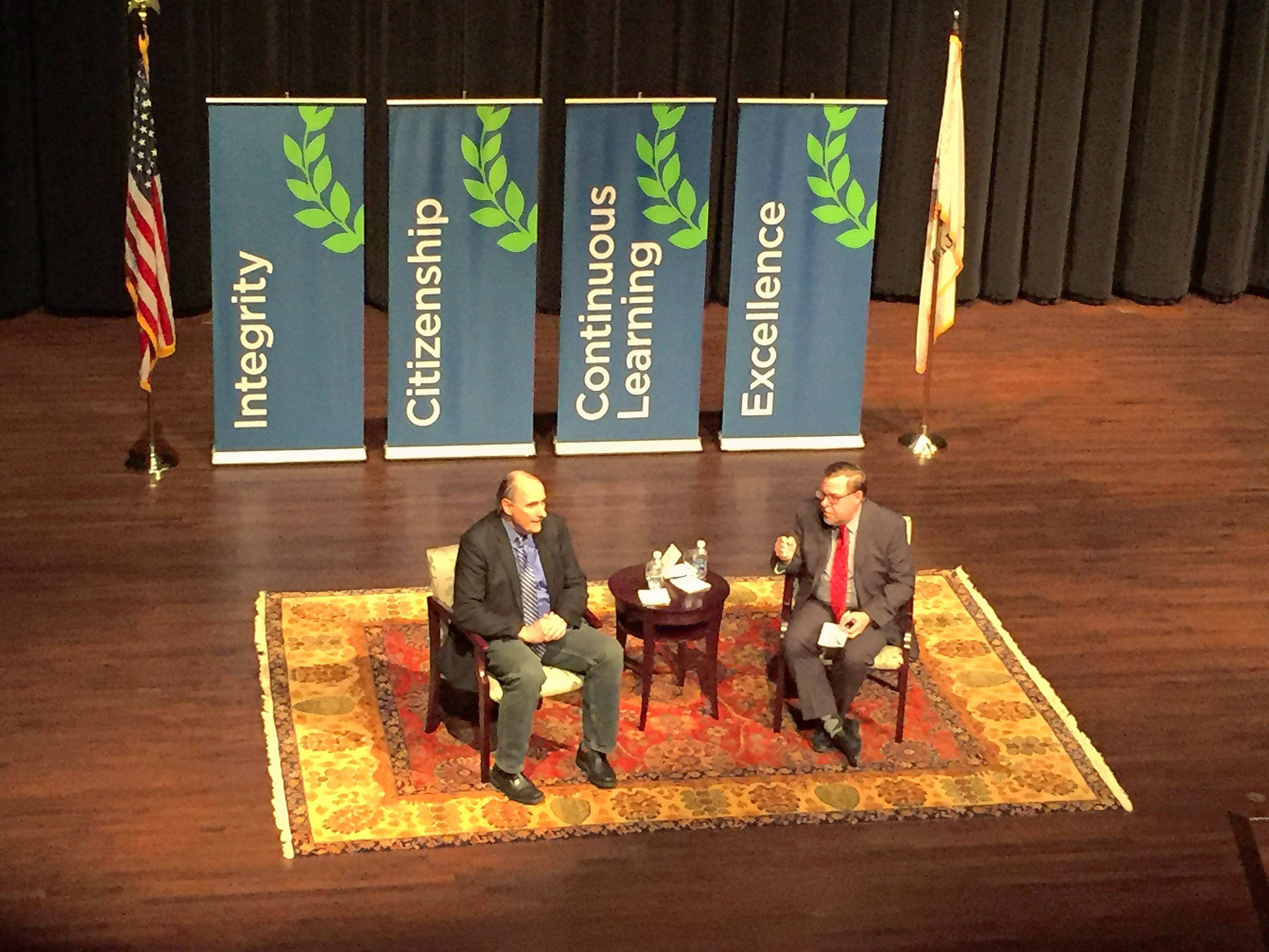CNN pundit and University of Chicago alumnus David Axelrod, left, shared his thoughts on Donald Trump, Hillary Clinton and his years as an adviser to Barack Obama in a public Q&A Thursday night with Chicago Tribune political reporter Rick Pearson at Aurora University Thursday.