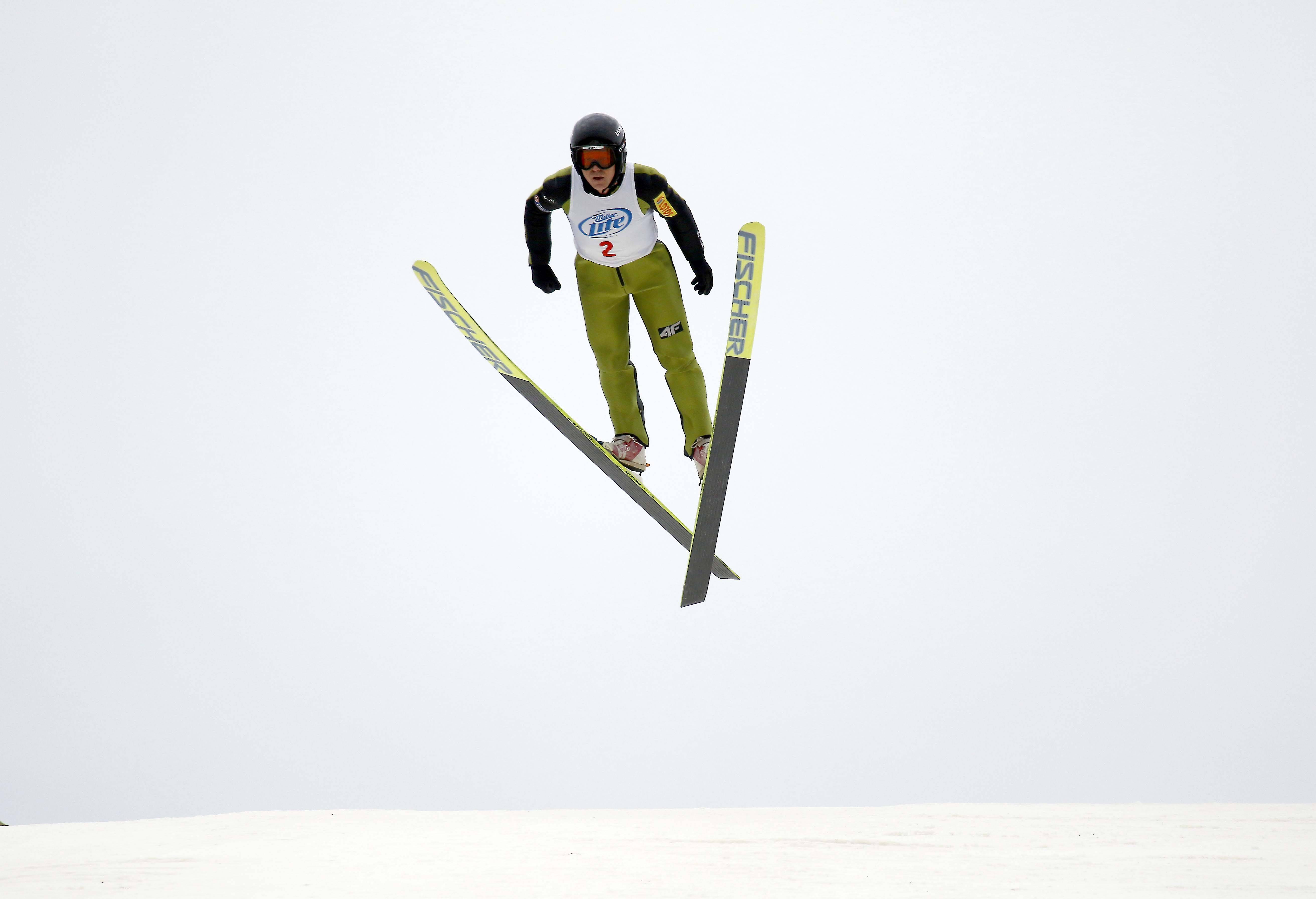 Brian Hill/bhill@dailyherald.comWally Kvak of the Norge Ski Club launches himself from the big hill Saturday during the 112th International Winter Tournament at the Norge Ski Club in Fox River Grove.