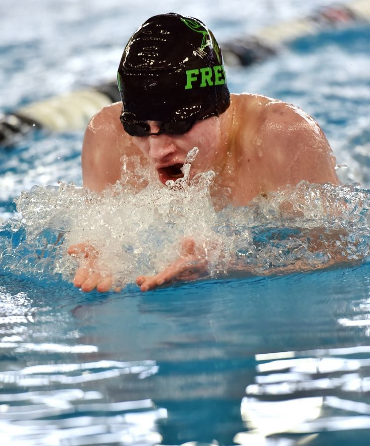 Fremd's Alex Schillinger cuts the surface in the 200-yard IM during the Mid-Suburban League meet at Conant on Saturday.