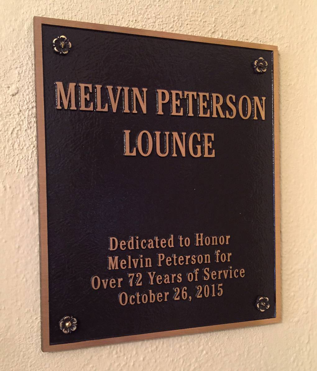 A plaque honoring Melvin Peterson has been added as part of the renovations at the Baker Community Center in St. Charles.