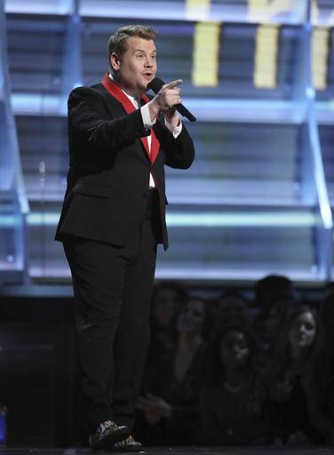 Host James Corden speaks at the 59th annual Grammy Awards on Sunday, Feb. 12, 2017, in Los Angeles. (Photo by Matt Sayles/Invision/AP)