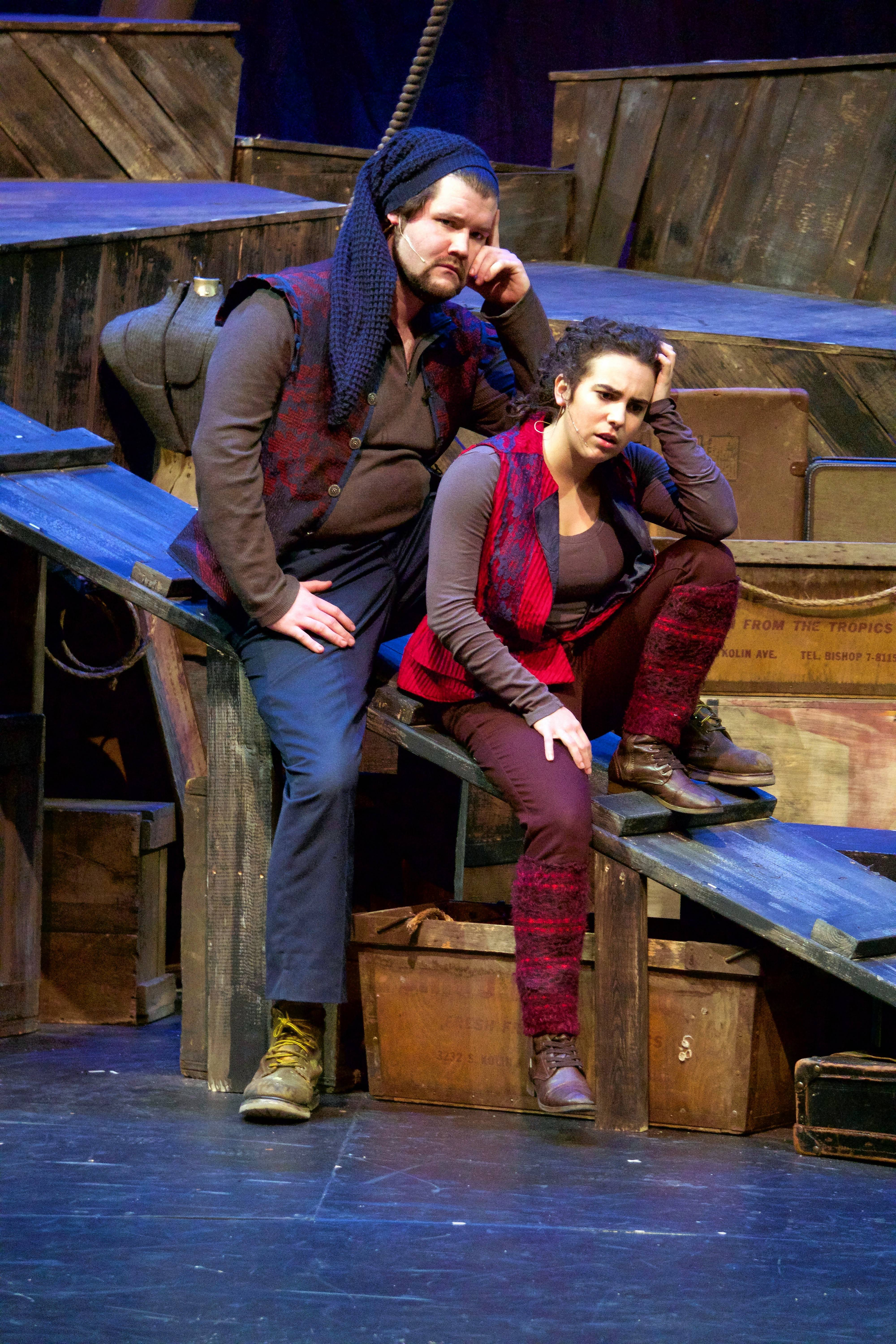 "Rosencrantz (David Stobbe), left, and Guildenstern (Aurora Real De Asua) ponder their existence within Shakespeare's timeless tragedy ""Hamlet"" in Tom Stoppard's Tony Award-winning 1960s existential comedy ""Rosencrantz and Guildenstern Are Dead"" at the Metropolis Performing Arts Centre in Arlington Heights."