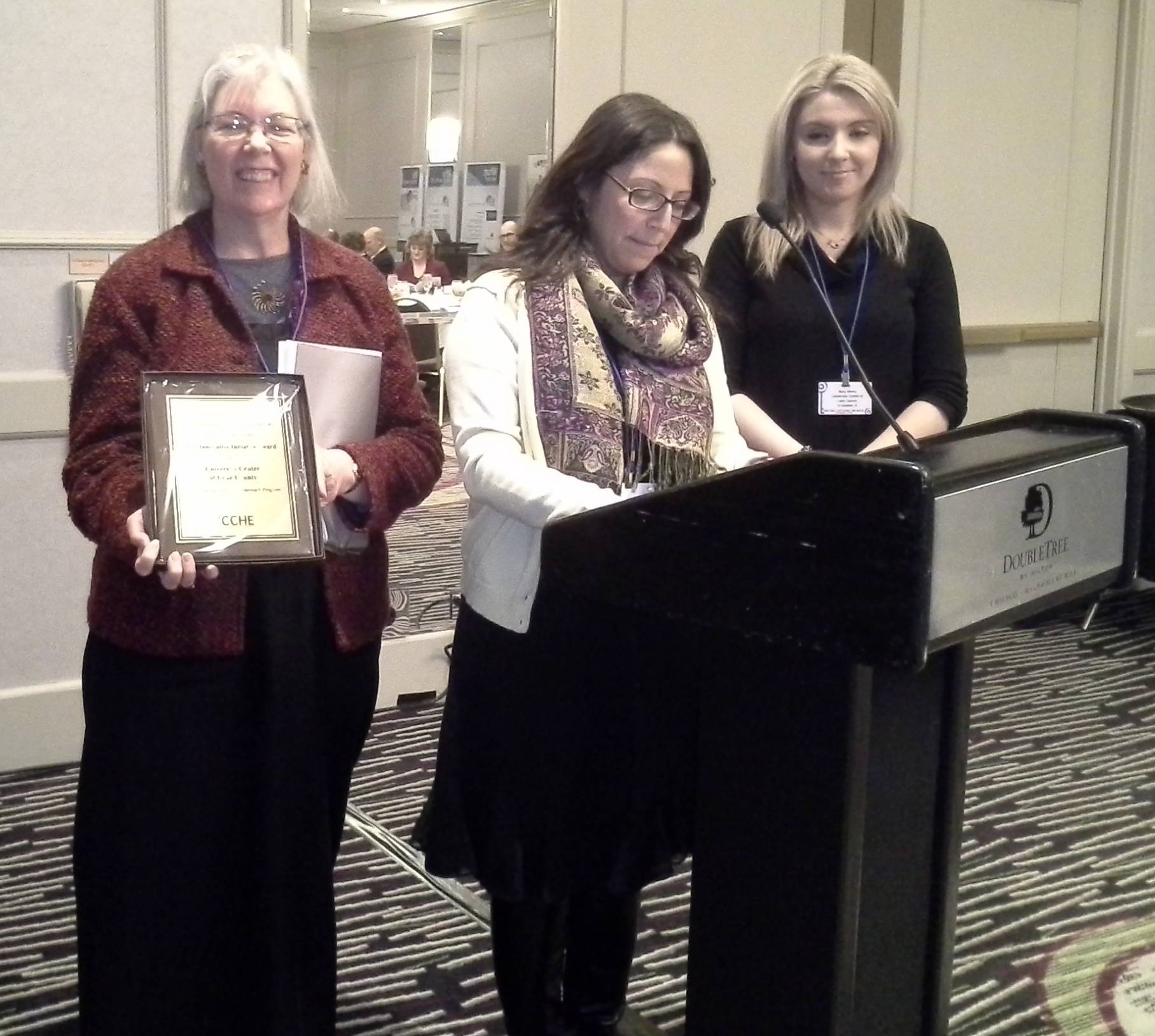 (L-R) Hilary Ward Schnadt, Myra Gaytan-Morales, and Nora Mena accept ICCHE's Innovative Initiative Award on behalf of the University Center of Lake County.Kathy Johnson