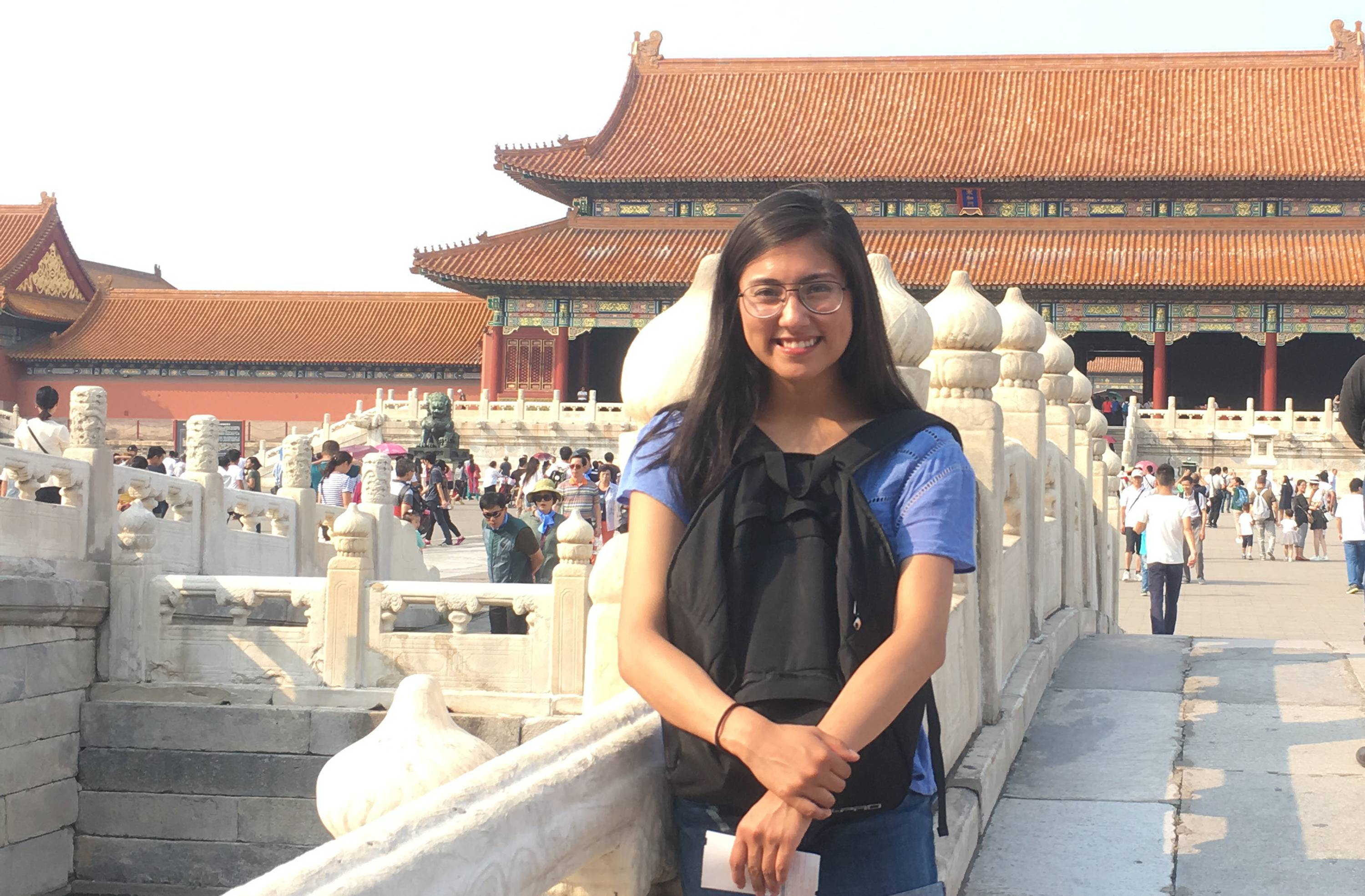 Kim Jimenez, a College of Lake County student, visits the Forbidden City, an imperial palace in Beijing, during Fall Semester 2016 in China.