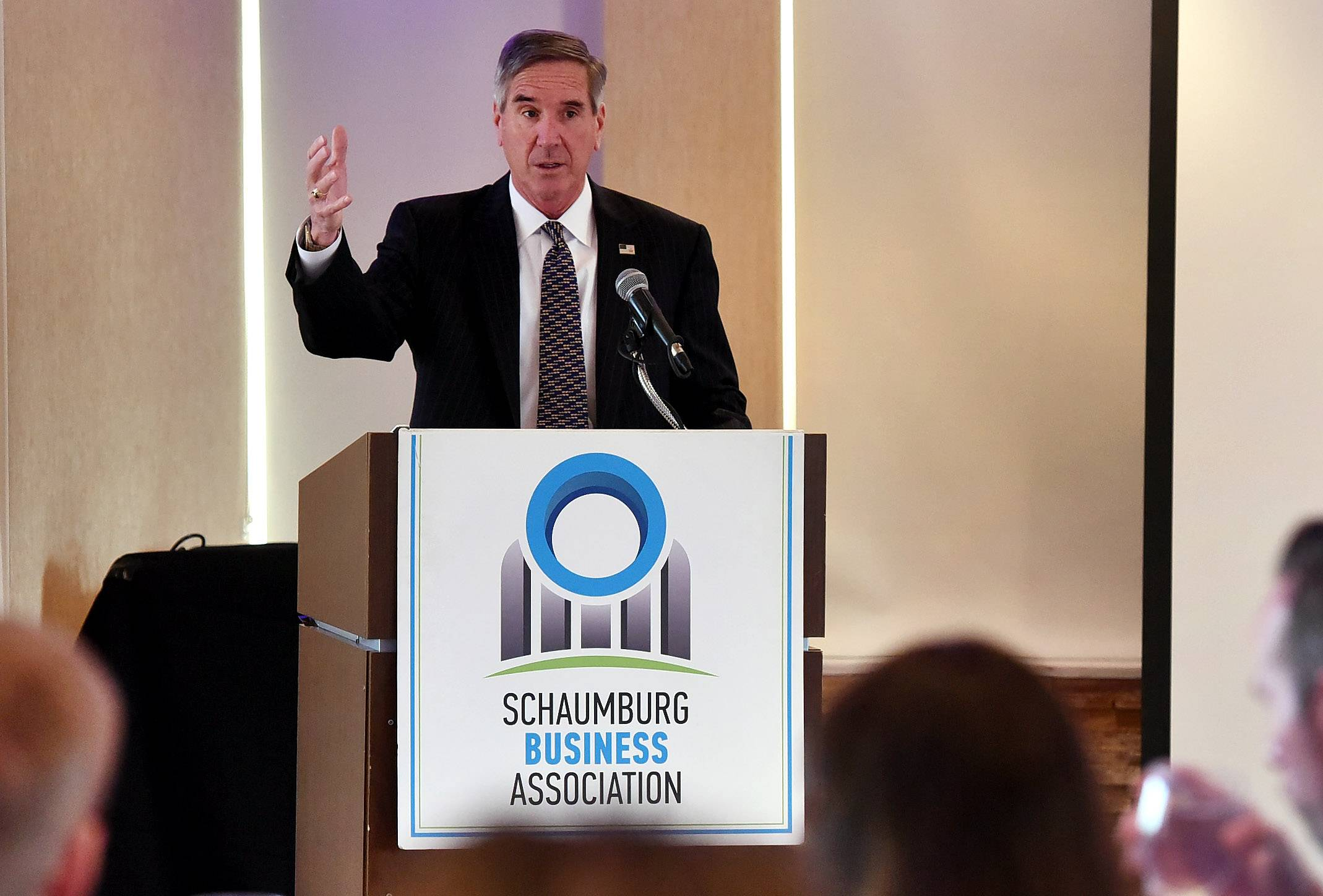 Cook County Commissioner Tim Schneider spoke Wednesday at the Schaumburg Business Association's Legislative Summit about new county rules in minimum wage and paid sick time off.