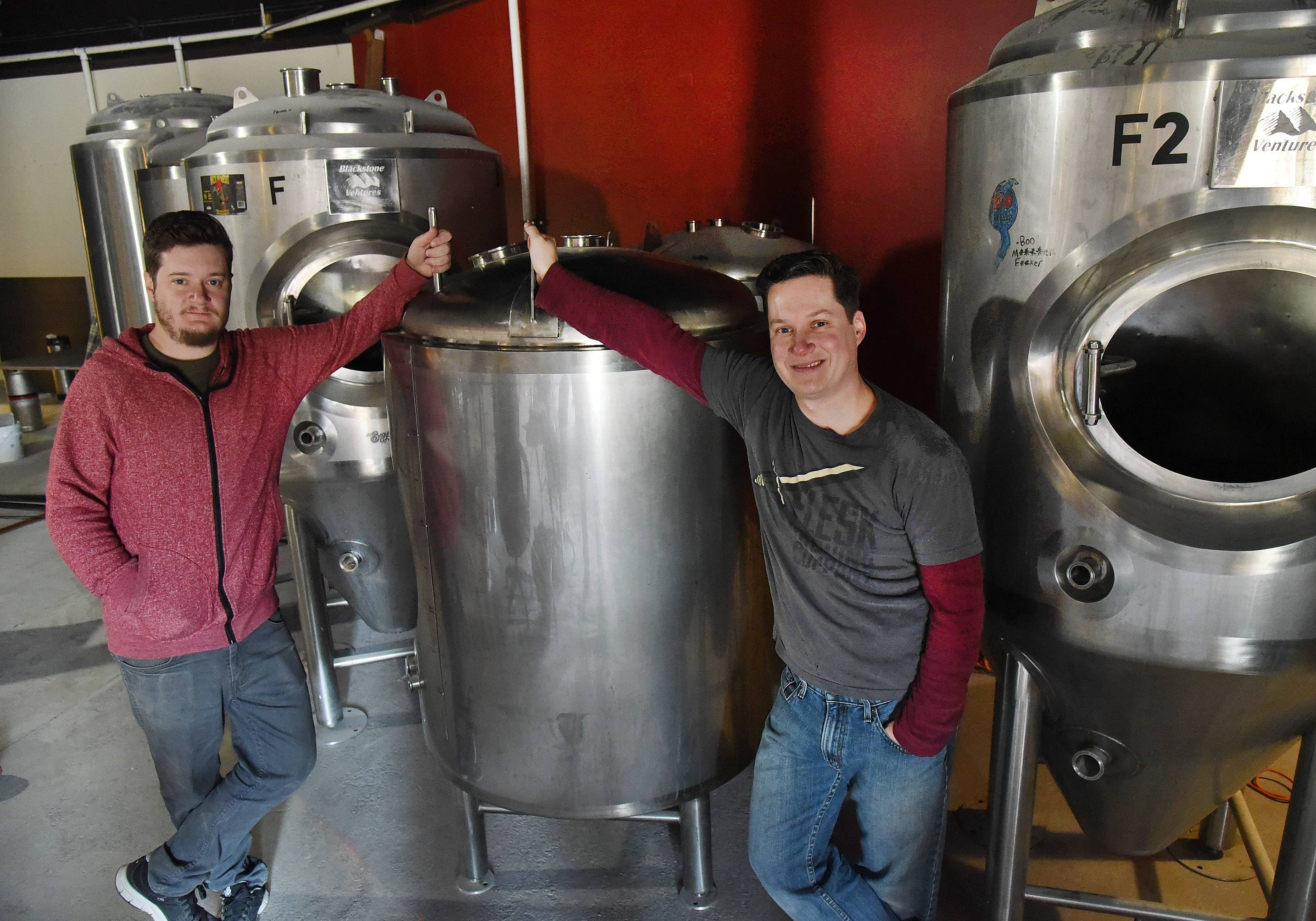 Bob Chwedyk/bchwedyk@dailyherald.comBrothers James, left, and Will O'Brien are expanding their business, Flesk Brewing, into Barrington.