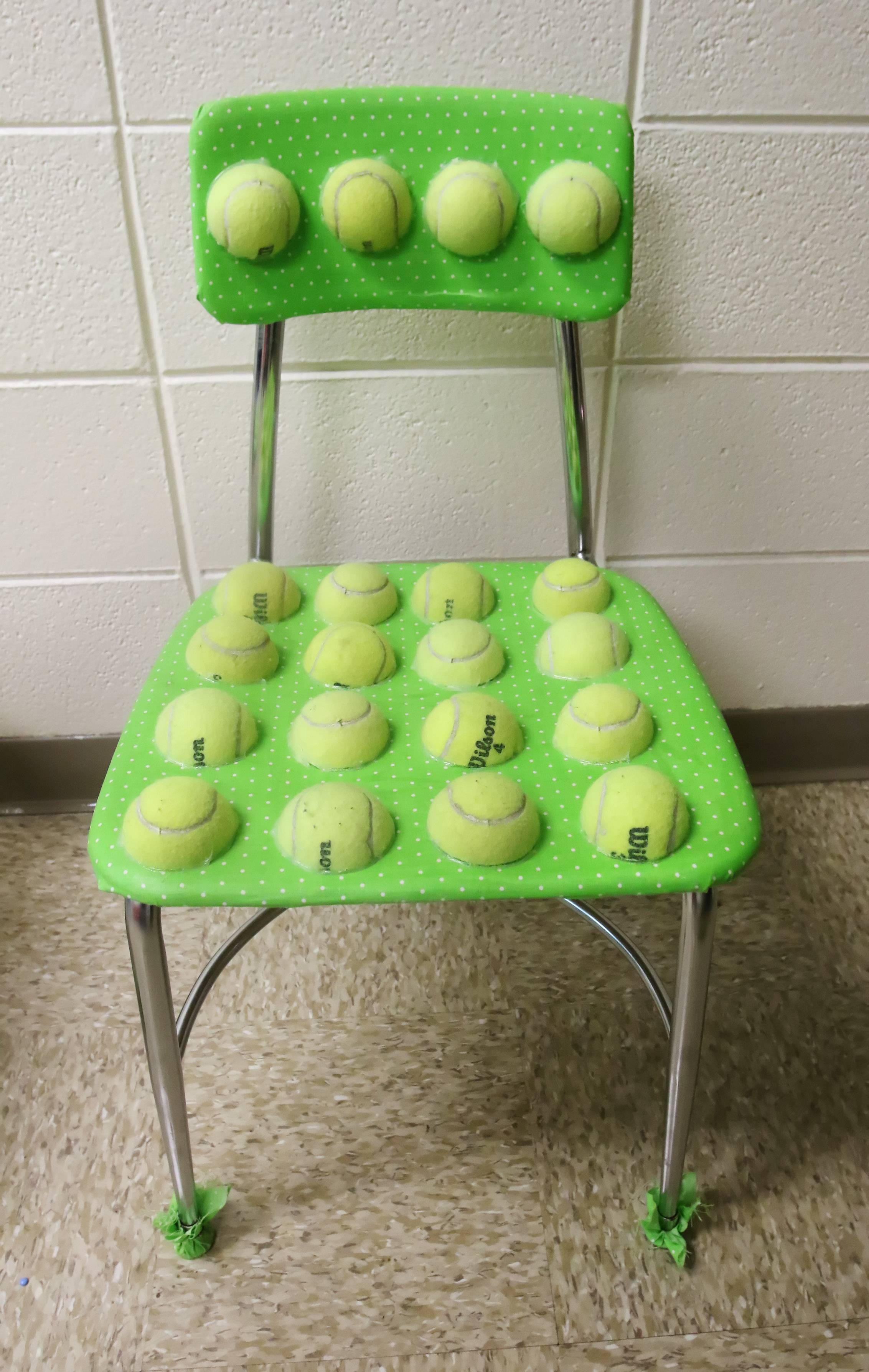 Speech language pathologist Amy Maplethorpe created two tennis ball sensory chairs in use at Raymond Ellis & Teacheru0027s DIY tennis ball chairs for kids with special needs go ...