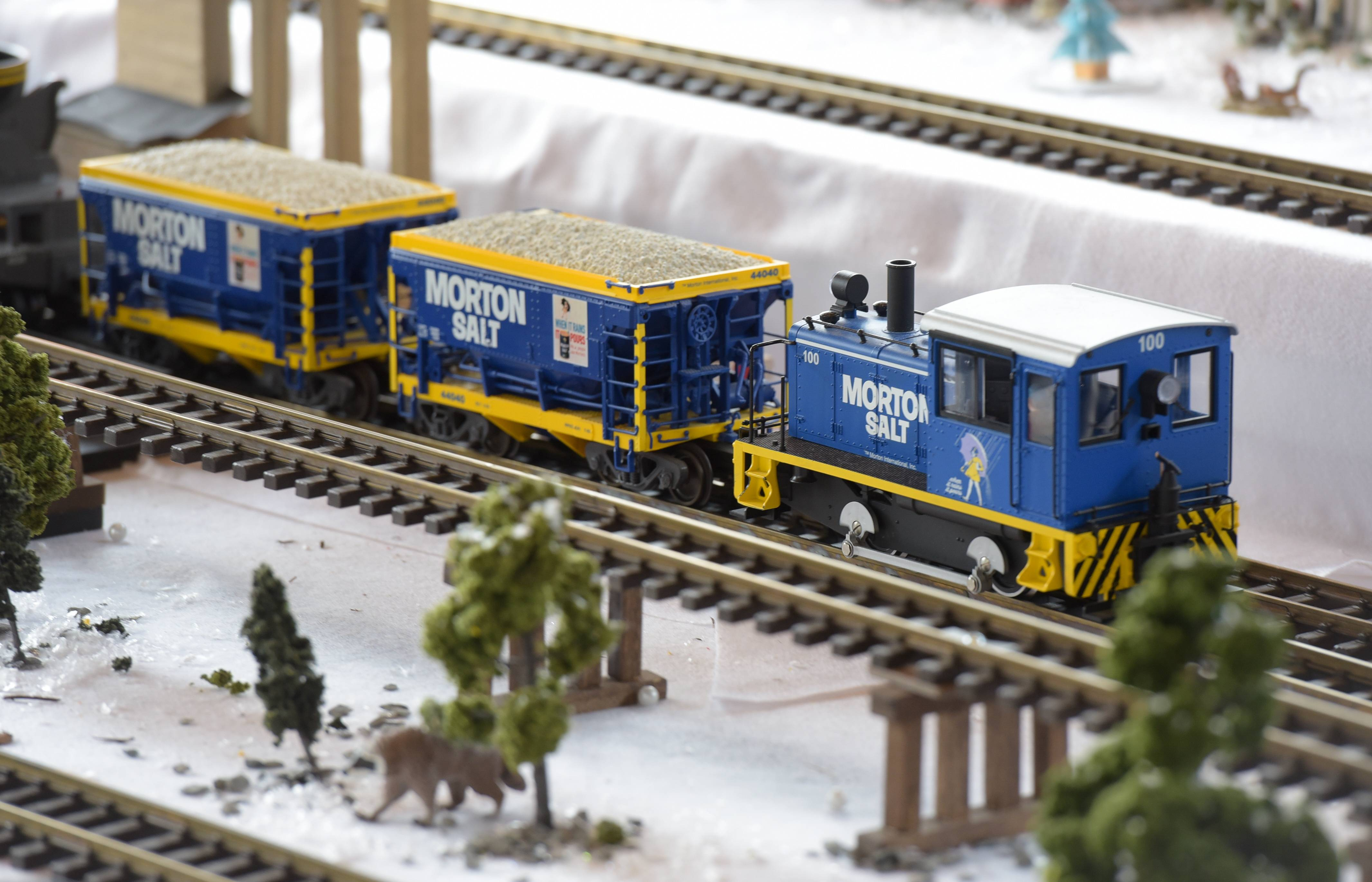 A Morton Salt train is one of the featured attractions at the Enchanted Railroad display at the Morton Arboretum in Lisle.