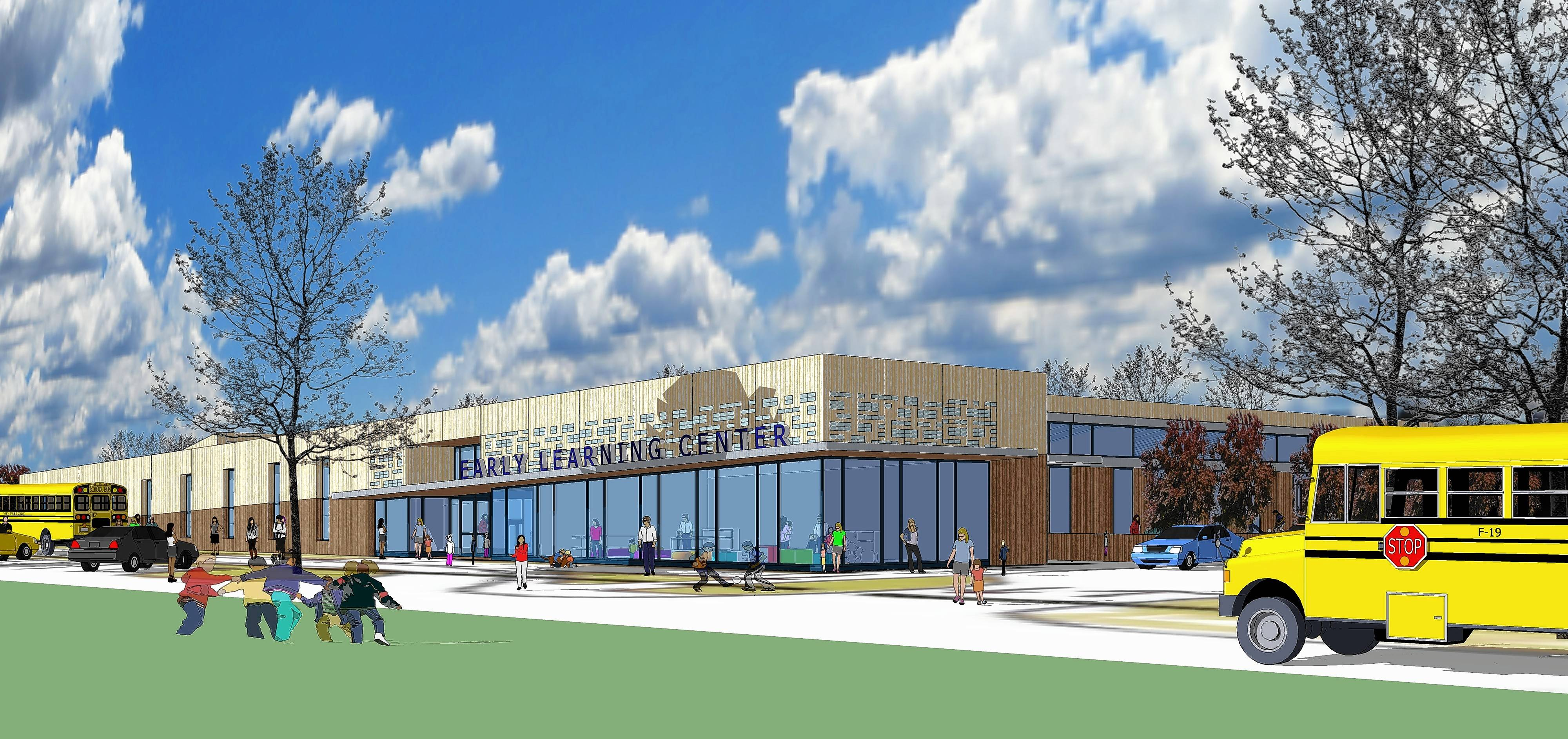A rendering shows the northeast corner of a new Jefferson Early Childhood Center.