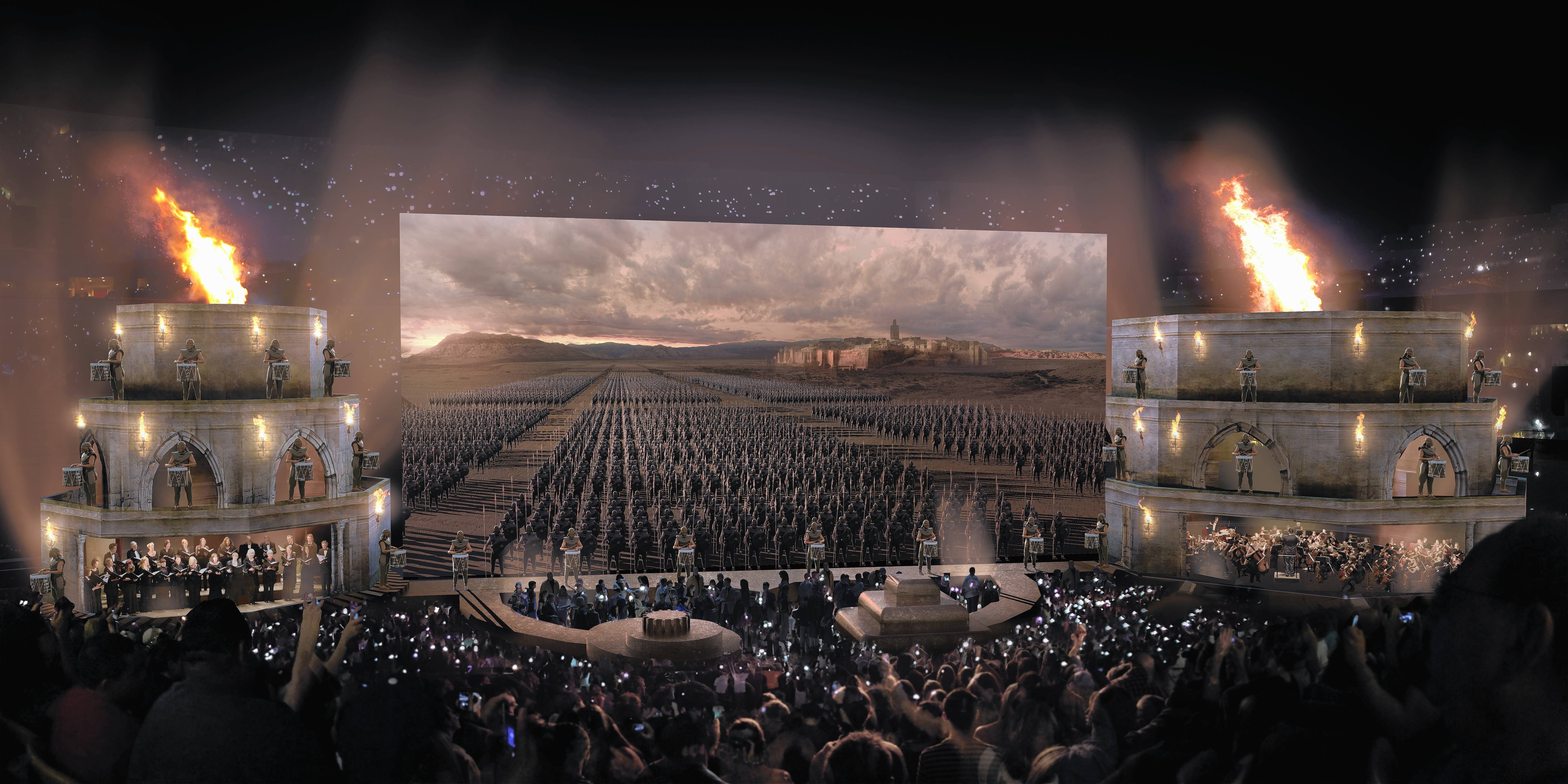 "This artist's rendering shows what lies in store for ""Game of Thrones"" fans at Wednesday's concert at United Center."