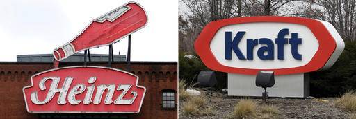 FILE - At left, in a March 25, 2015, file photo, a Heinz ketchup sign is shown on the side of the Senator John Heinz History Center in Pittsburgh. At right, also in a March 25, 2015, file photo, the Kraft logo appears outside of their headquarters in Northfield, Ill. U.S. food giant Kraft Heinz Co. is confirming that it's made an offer to buy Europe's Unilever and been rejected. The company said Friday, Feb. 17, 2017, that talks are ongoing with the Dutch company, but that no deal can be assured.