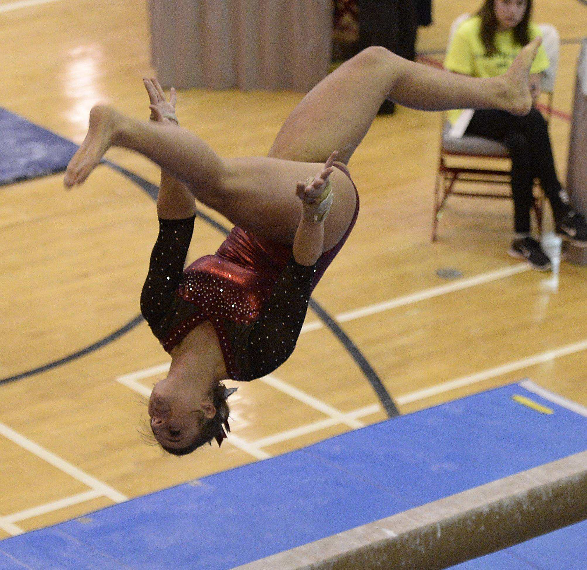 Prairie Ridge's Kira Karlblom on the balance beam.