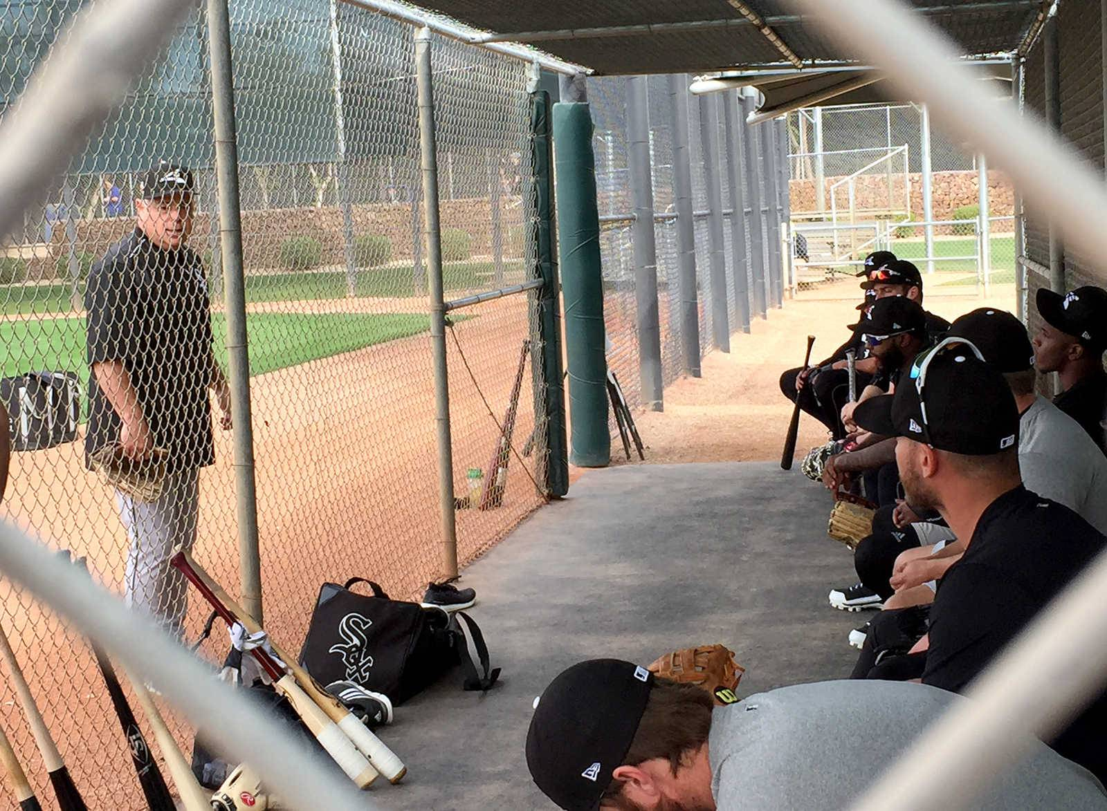 White Sox manager Rick Renteria gives his hitters a pep talk before batting practice gets underway Friday at Camelback Ranch.