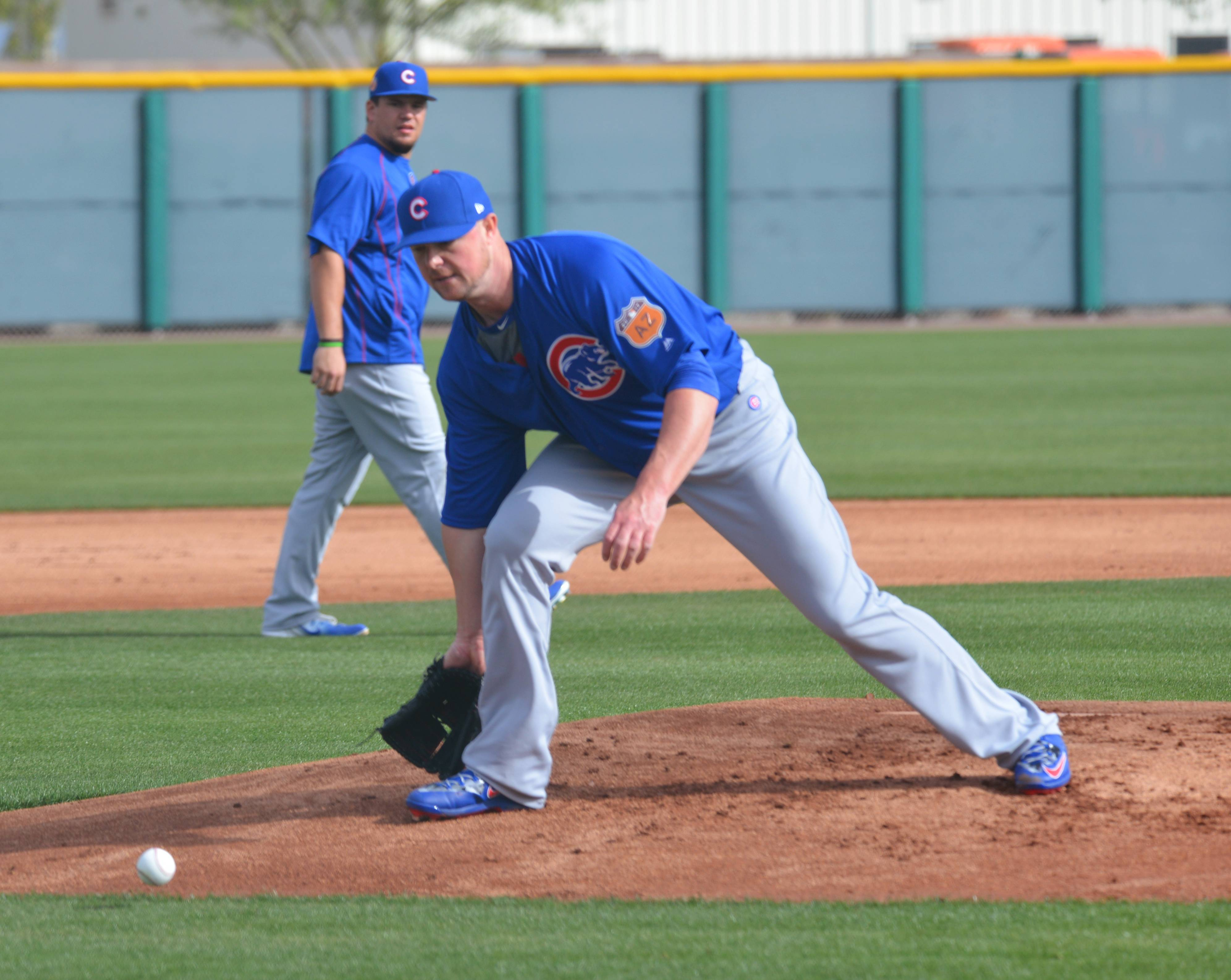 Jon Lester spent some time Friday in Cubs camp working on his fielding.