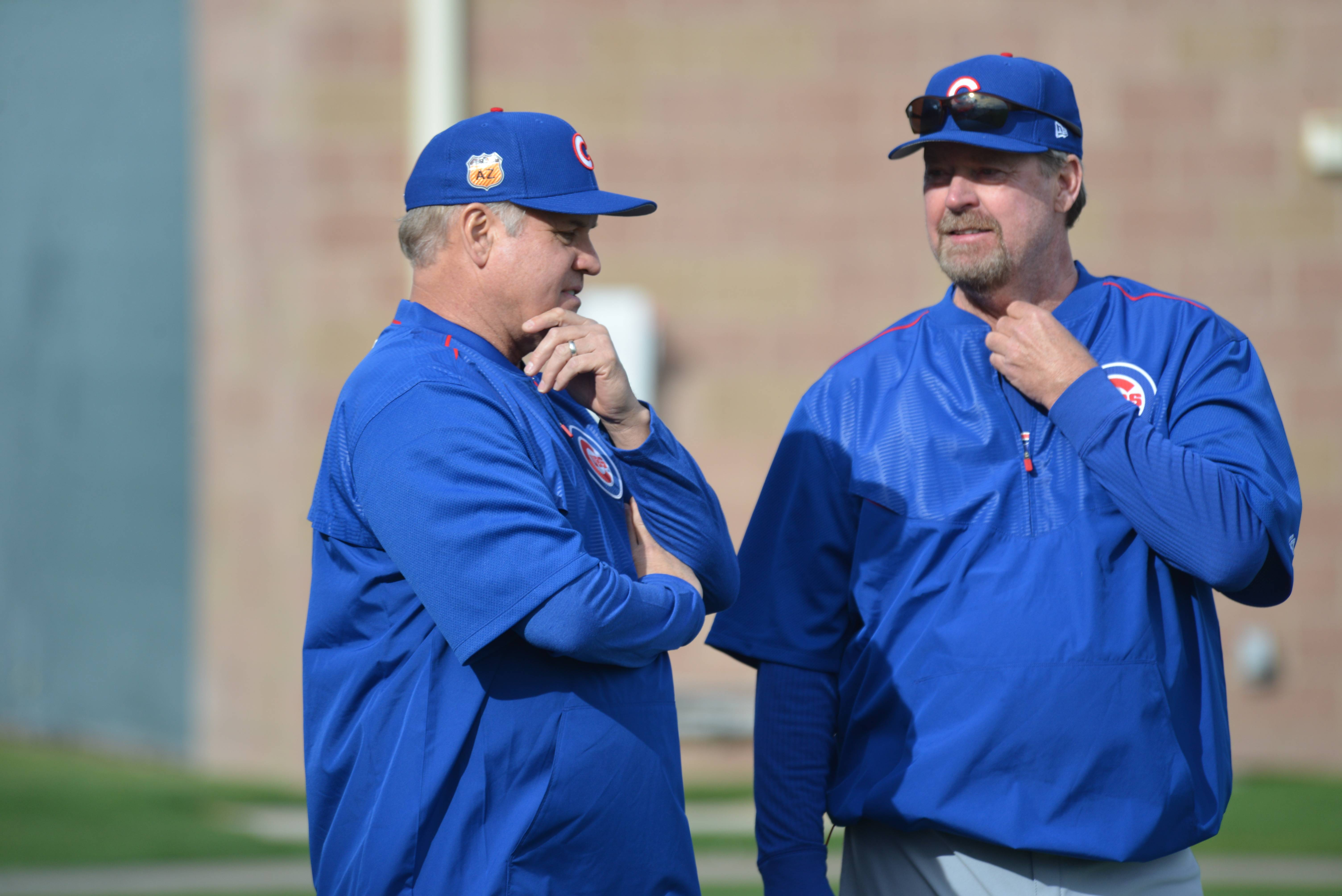 Ryne Sandberg was at spring traing camp with the Cubs on Friday, and he also spent time with former teammate and pitching instructor Rick Sutcliffe.