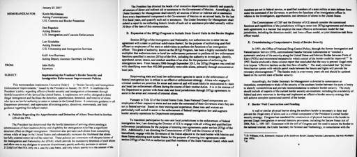 "This image shows pages 1, 3 and 4 of an 11-page draft memo that circulated within the U.S. Department of Homeland Security that proposed calling for the militarization of immigration enforcement as far north as Portland, Oregon, and as far east as New Orleans, Louisiana. The proposal to mobilize as many as 100,000 National Guard troops to round up unauthorized immigrants, including millions living nowhere near the Mexico border, was still being considered as recently as Feb. 10, according to staffers at DHS. White House spokesman Sean Spicer said Friday there would be ""no effort at all to utilize the National Guard to round up unauthorized immigrants."""
