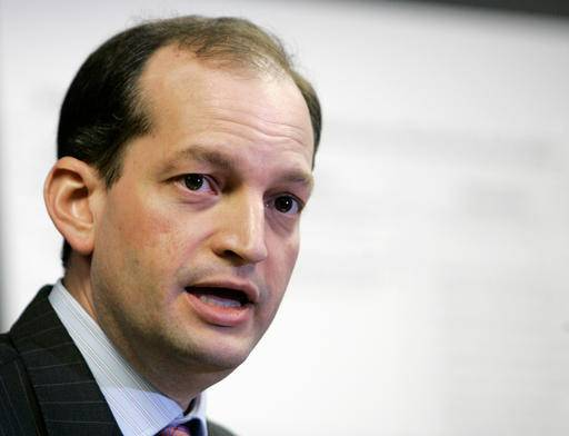 FILE - In this Jan. 16, 2008 file photo, R. Alexander Acosta talks to reporters during a news conference in Miami. President Donald Trump says he's has chosen Acosta to be labor secretary. (AP Photo/Alan Diaz, File)