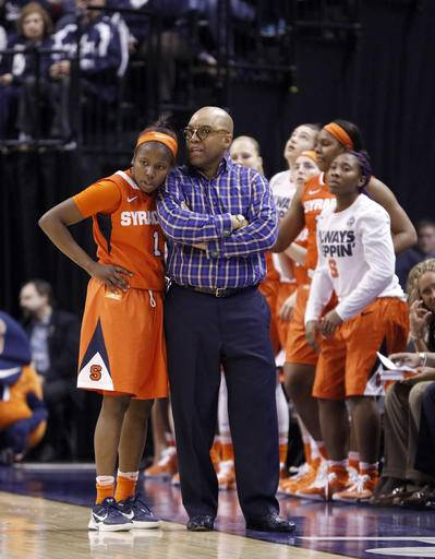 FILE- In this April 5, 2016, file photo, Syracuse head coach Quentin Hillsman and Alexis Peterson (1) talk during the second half of the championship game against Connecticut at the women's Final Four in the NCAA college basketball tournament in Indianapolis. The Syracuse backcourt of senior Alexis Peterson and redshirt senior Brittney Sykes is the highest-scoring duo in the nation. Peterson is averaging 23.6 points, third nationally, and Sykes is 22nd at 19.4.