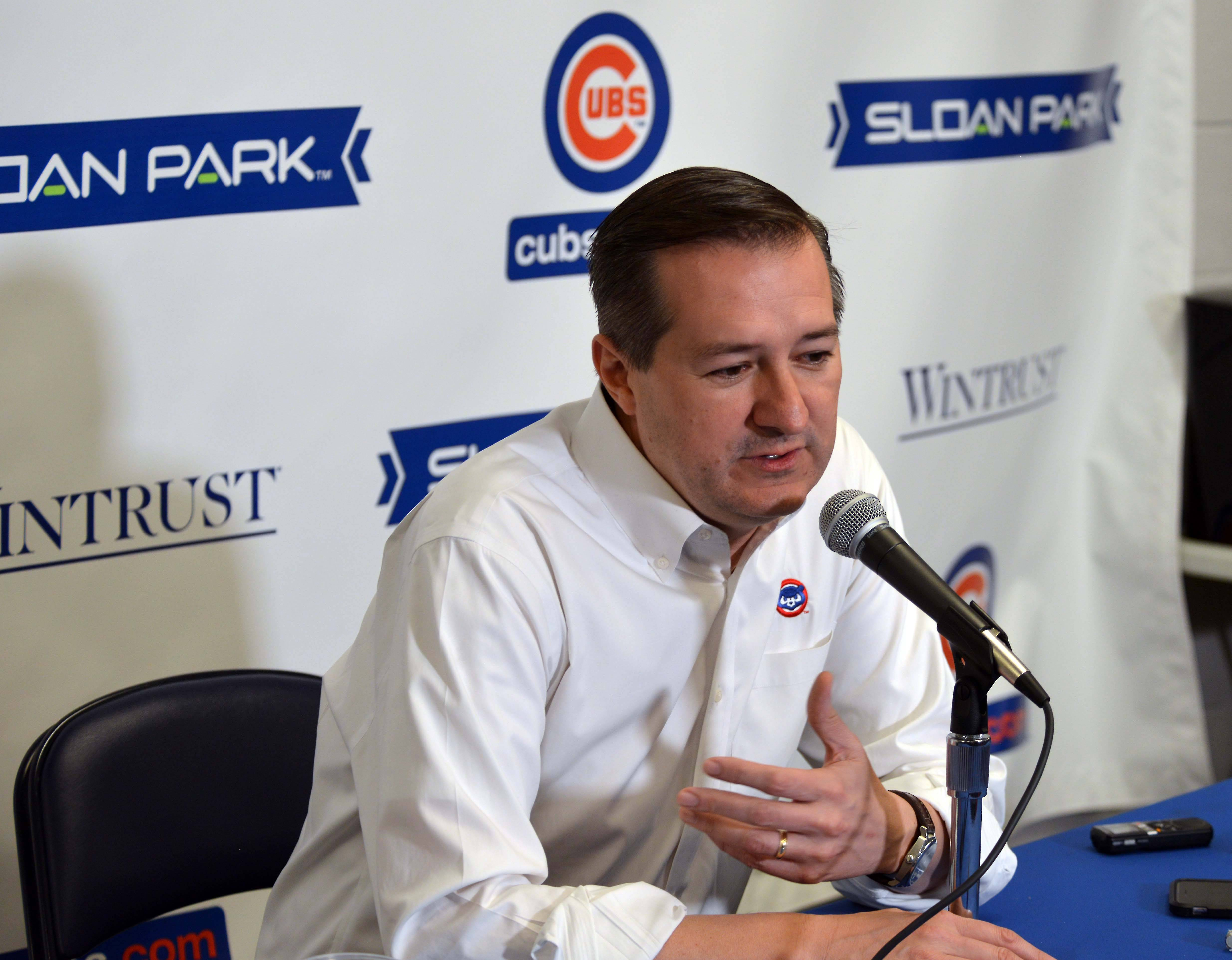 Bruce Miles/bmiles@dailyherald.comOwner Tom Ricketts addresses the media after he talked to the team Saturday.