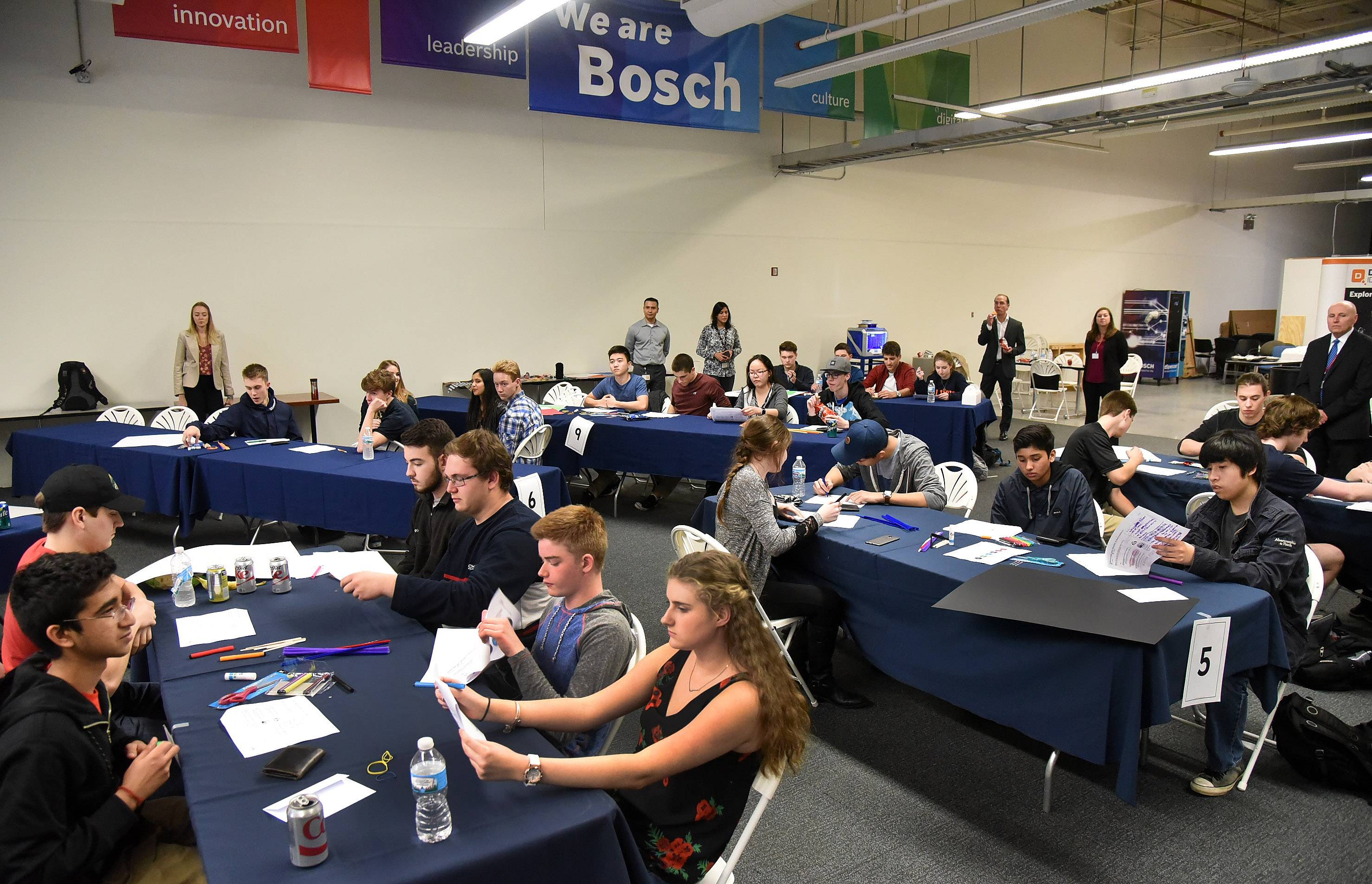 Bosch Tool Corporation in Mount Prospect hosted 80 engineering students from across the area to participate in an Engineering Development & Design thinking activity and competition.