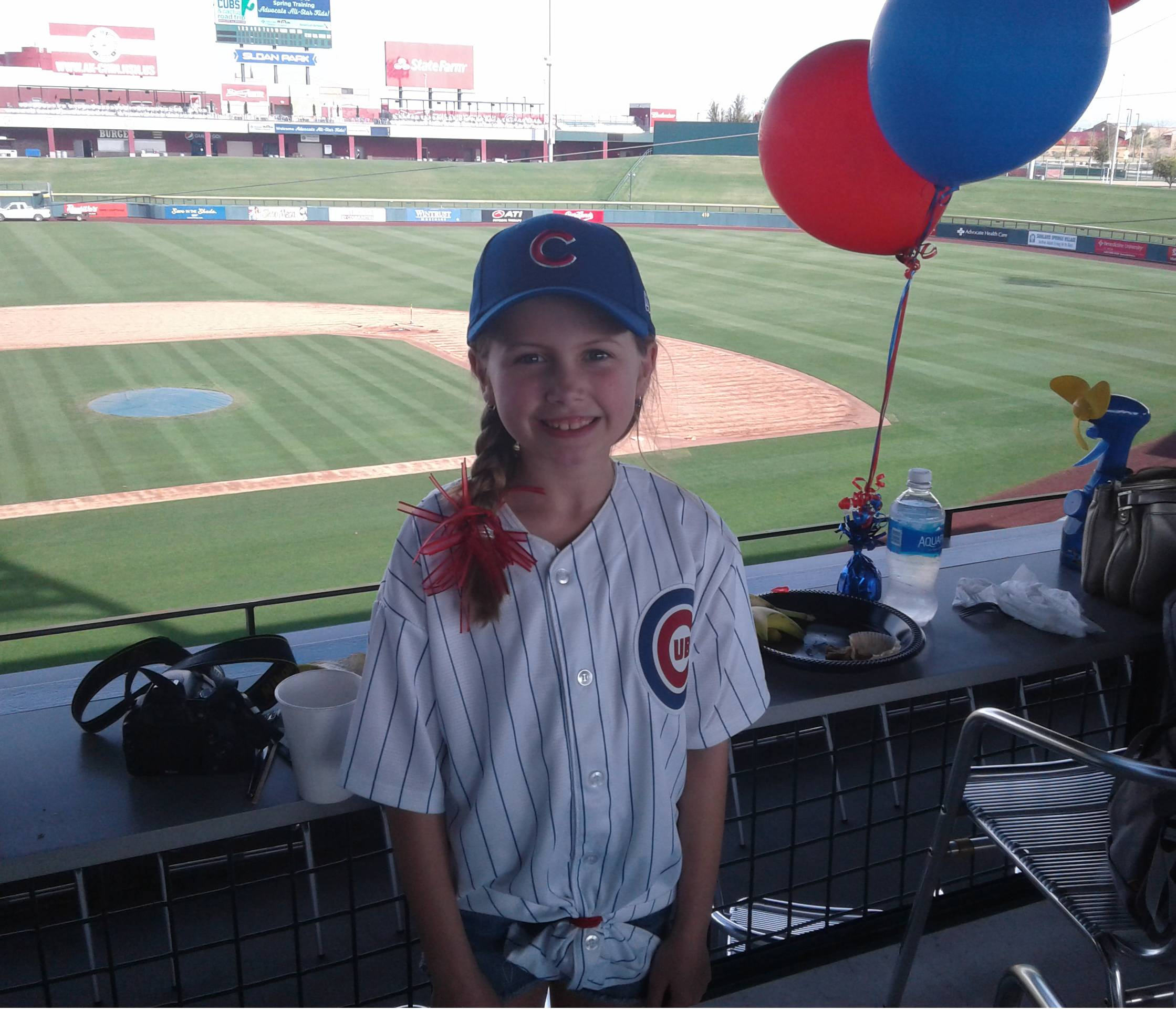 "TThe Chicago Cubs made Wedensday a very special day for a bunch of kids from Advocate Children's Hospital in Chicago. The kids got to stretch with the players and tour the team's spring facility. Olivia Gryson from Elgin on Cubs third baseman Kris Bryant: ""He's cute."""