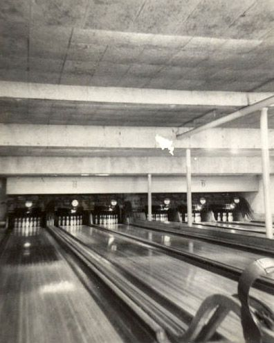 Bowling lanes in the Baker Community Center basement in St. Charles, circa the 1940s.
