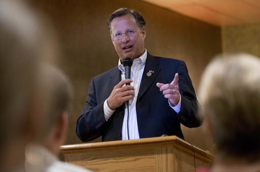 Congressman Dave Brat, R-Va., answers a question during a town hall meeting with the congressman in Blackstone, Va., Tuesday, Feb. 21, 2017.