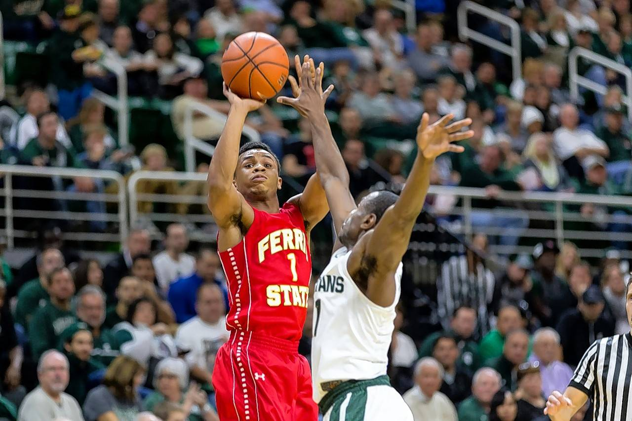 Larkin graduate Quentin Ruff (1) has been a key contributor for the Ferris State University men's basketball team this season.