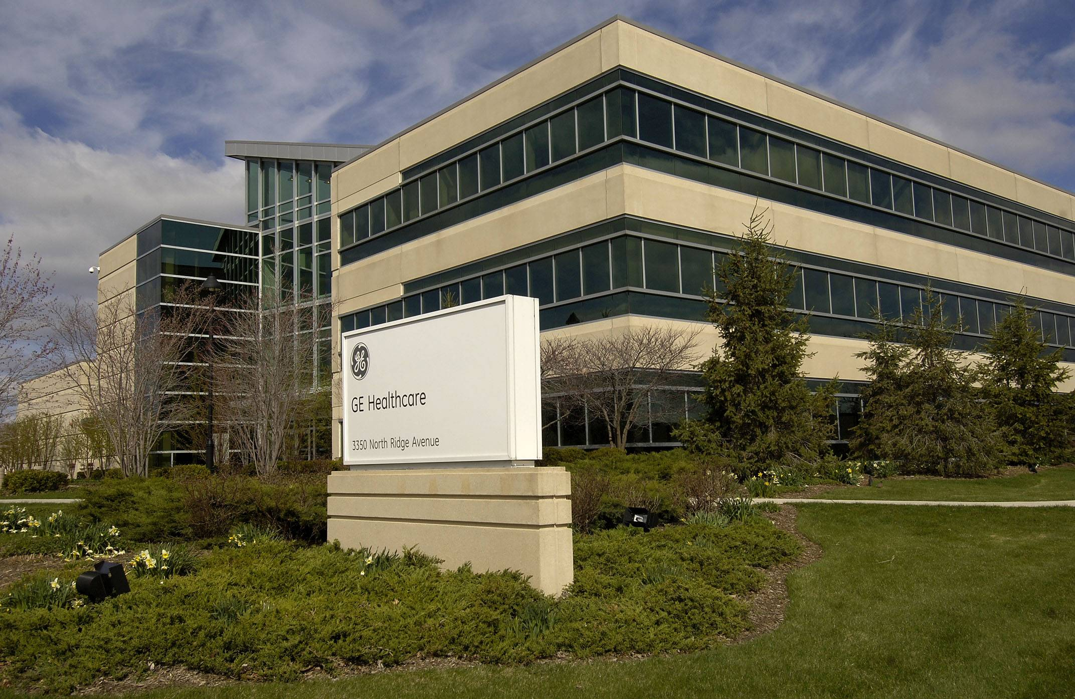 GE Healthcare has offices around the suburbs, such as this Arlington Heights location. Its Barrington office will move hundreds of workers to downtown Chicago and end its lease in Barrington by the end of the year.