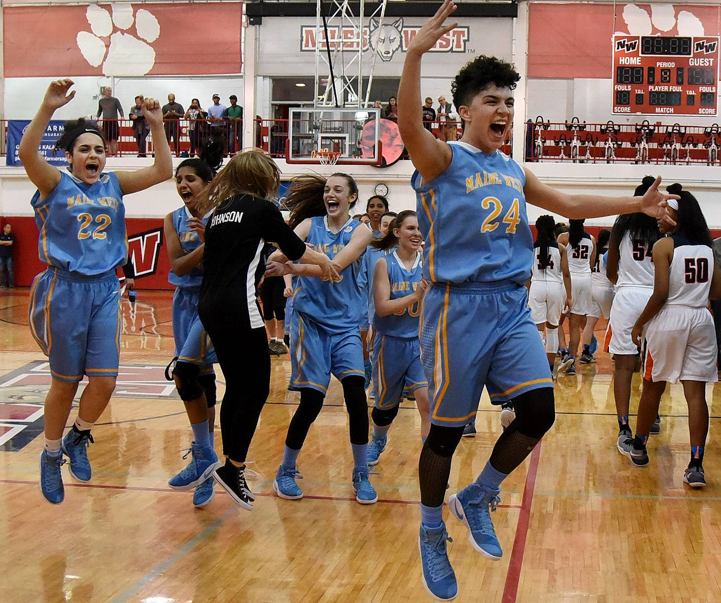 Maine West's Alisa Fallon, right and Bianca Mando jump for joy with teammates after defeating Evanston in the Class 4A sectional final at Niles West Thursday night.