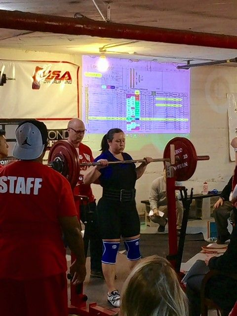 Prospect Heights 1st Ward Alderman Lora Messer competes in a powerlifting meet Feb. 12 in Chicago.