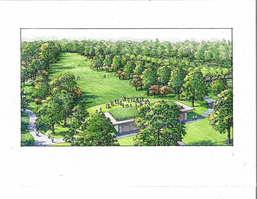 A proposed rendering shows views of a prairie at Cantigny Park in Wheaton.