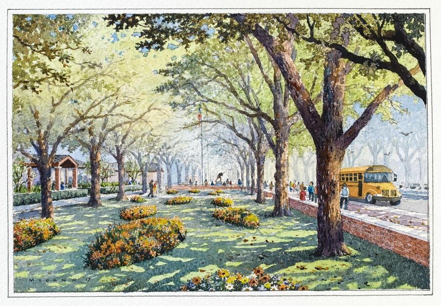 Plans call for planting the Red Oak Colonnade, rows of trees from the front of the Visitors Center south to the First Division Museum, in 2018.