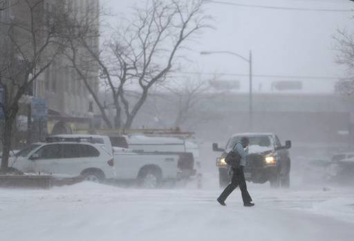 Gusty winds whip up snow during a winter storm Thursday, Feb. 23, 2017 in Casper, Wyo. (Dan Cepeda /The Casper Star-Tribune via AP)