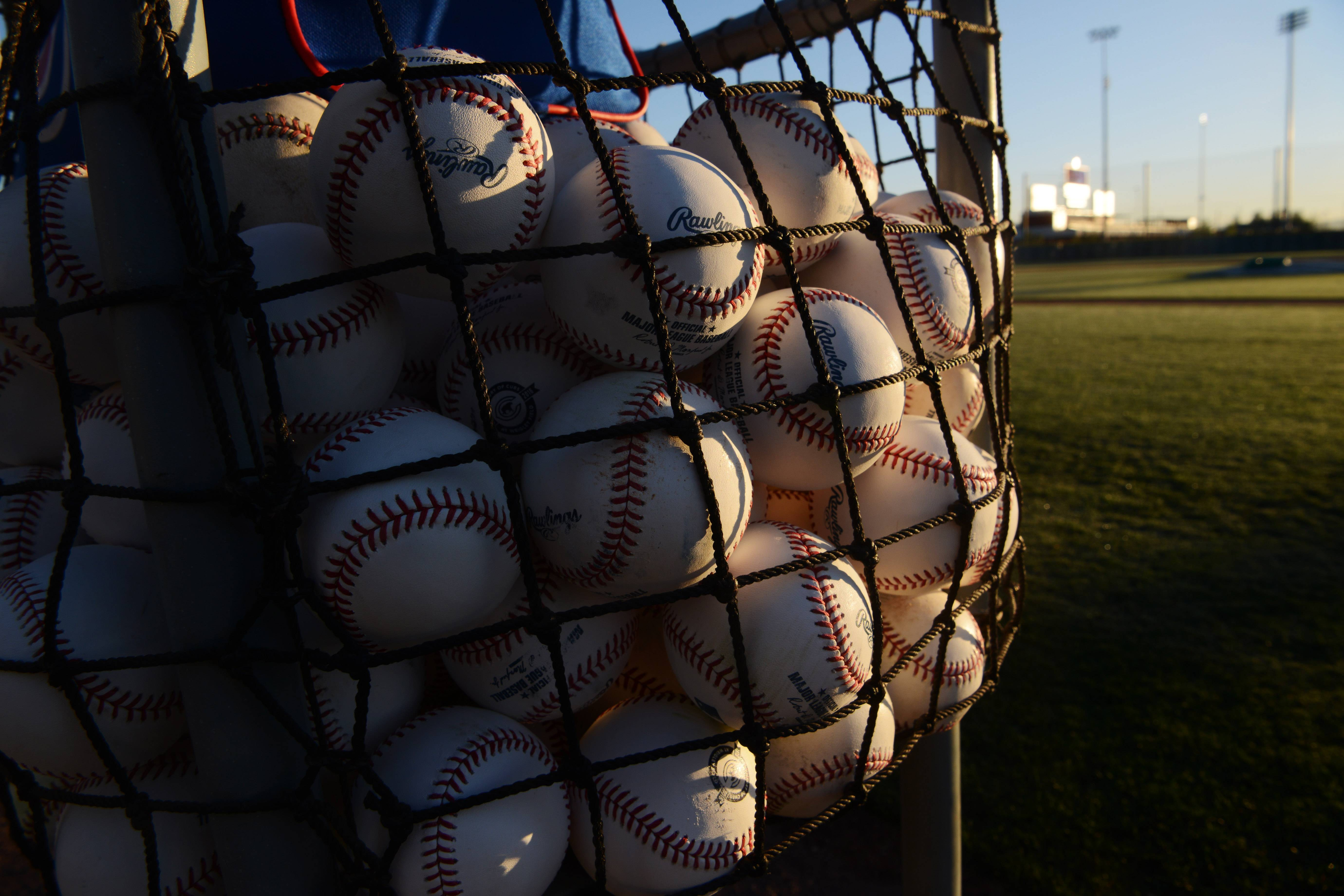 A basket of baseballs is ready for Chicago Cubs players prior to Friday's workout at Sloan Park in Mesa, Arizona.