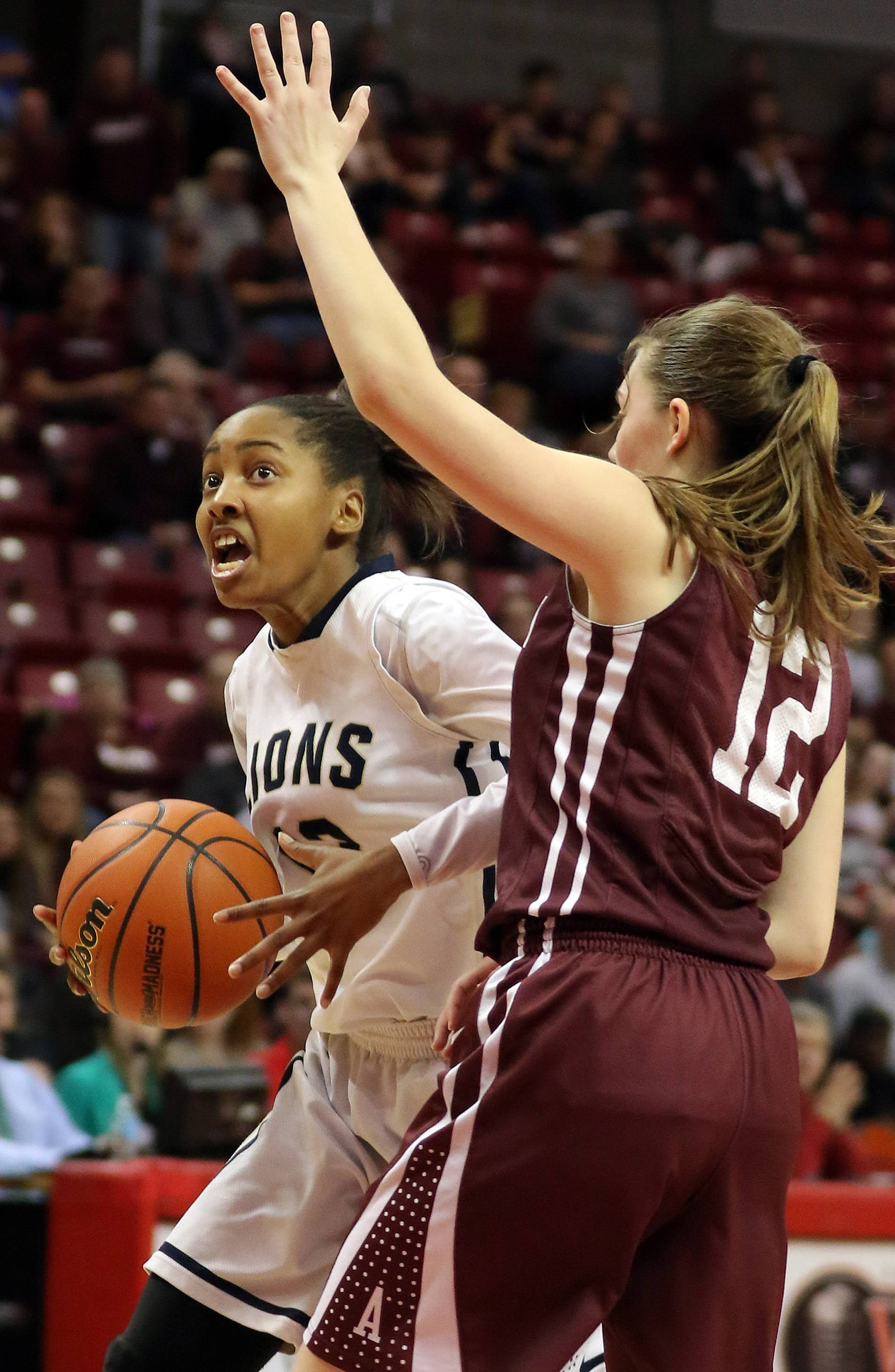 Harvest Christian's Nygia Pollard, left, drives on Annawan's Kaley Jackson.