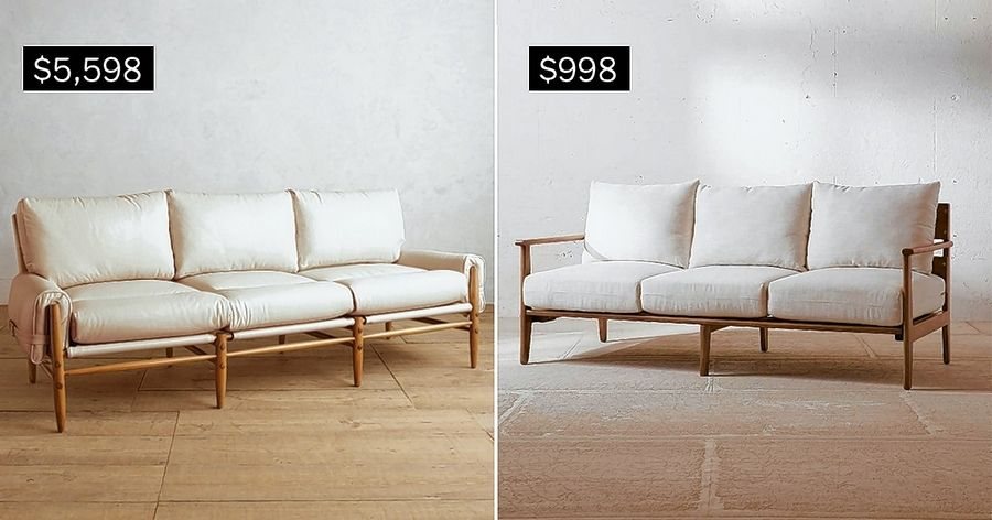 SPLURGE: Premium leather Rhys Sofa in ivory, left. SAVE: Peyton Sofa in ivory.