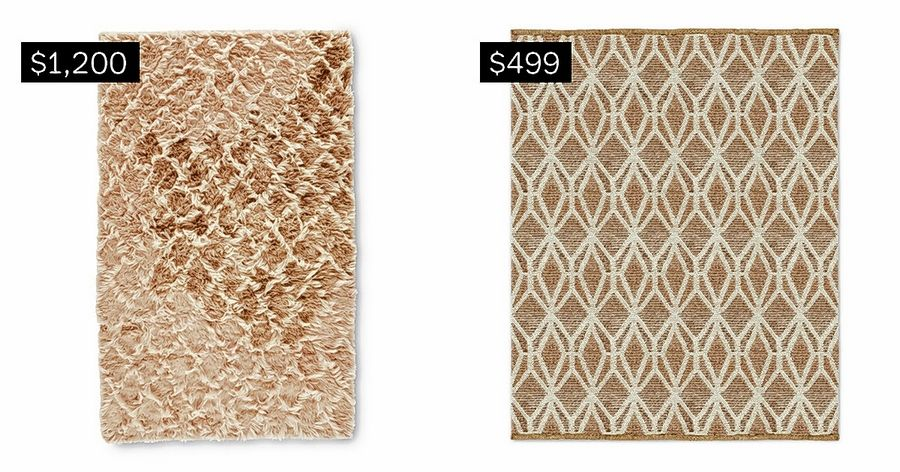 SPLURGE: 8-by-10-foot Zenith shag rug, left. SAVE: 8-by-10-foot woven Geo jute rug.