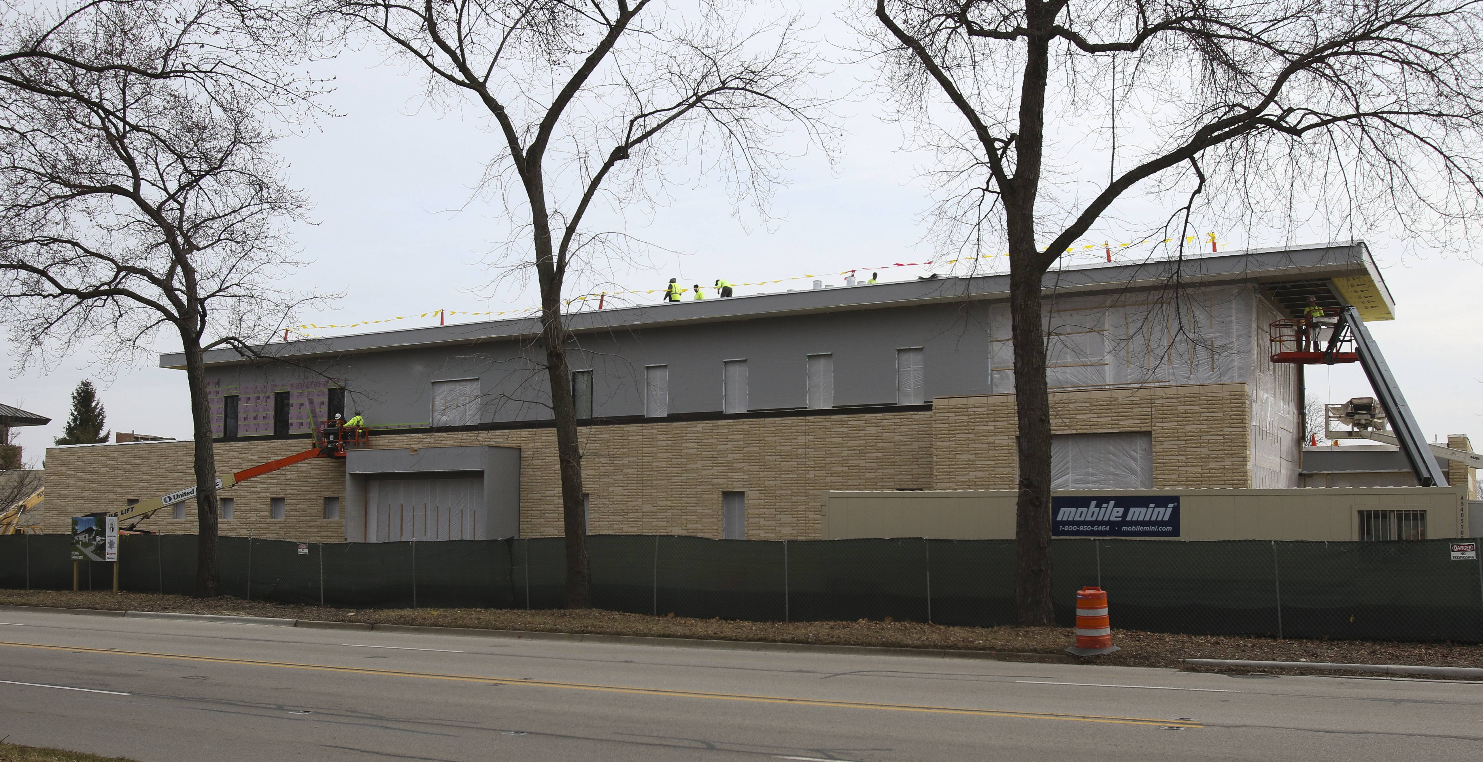 Construction of the $13.5 million Glen Ellyn police station is two months ahead of schedule and is expected to be finished in July.